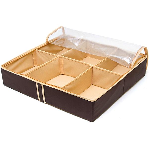 Органайзер для обуви на 6 боксов Costa-Rica, HomsuОрганайзеры для одежды<br>Характеристики товара:<br><br>• цвет: коричневый<br>• материал: спанбонд, картон, ПВХ<br>• размер: 56х52х12 см<br>• вес: 700 г<br>• легкий прочный каркас<br>• застежка: молния<br>• прозрачная крышка<br>• ручка для переноски<br>• вместимость: 6 отделений<br>• страна бренда: Россия<br>• страна изготовитель: Китай<br><br>Органайзер для обуви на 6 боксов Costa-Rica от бренда Homsu (Хомсу) - очень удобная вещь для хранения вещей и эргономичной организации пространства.<br><br>Он легкий, устойчивый, вместительный, имеет удобную ручку для переноски.<br><br>Органайзер для обуви на 6 боксов Costa-Rica, Homsu можно купить в нашем интернет-магазине.<br><br>Ширина мм: 540<br>Глубина мм: 290<br>Высота мм: 20<br>Вес г: 700<br>Возраст от месяцев: 216<br>Возраст до месяцев: 1188<br>Пол: Унисекс<br>Возраст: Детский<br>SKU: 5620219