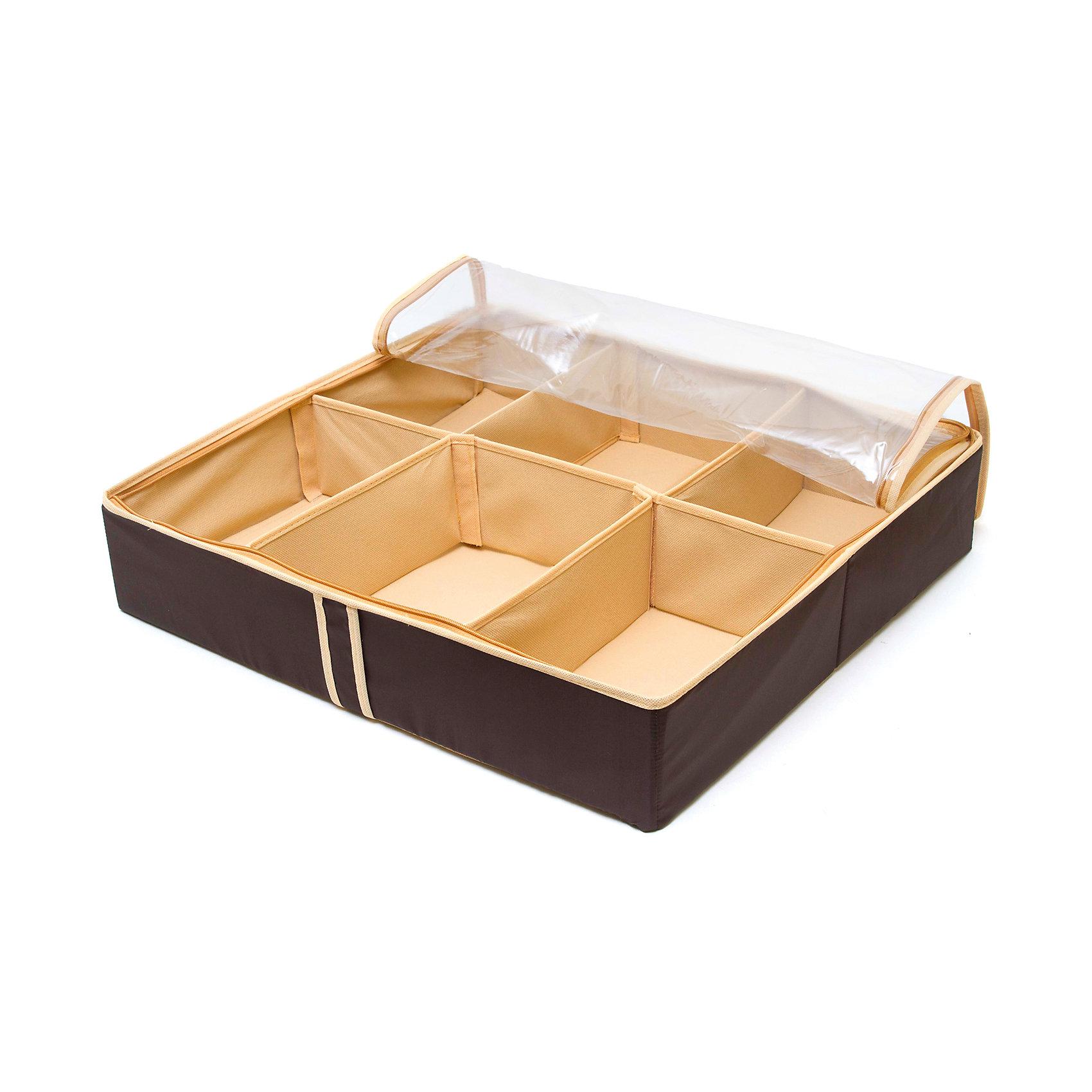 Органайзер для обуви на 6 боксов Costa-Rica, HomsuПорядок в детской<br>Характеристики товара:<br><br>• цвет: коричневый<br>• материал: спанбонд, картон, ПВХ<br>• размер: 56х52х12 см<br>• вес: 700 г<br>• легкий прочный каркас<br>• застежка: молния<br>• прозрачная крышка<br>• ручка для переноски<br>• вместимость: 6 отделений<br>• страна бренда: Россия<br>• страна изготовитель: Китай<br><br>Органайзер для обуви на 6 боксов Costa-Rica от бренда Homsu (Хомсу) - очень удобная вещь для хранения вещей и эргономичной организации пространства.<br><br>Он легкий, устойчивый, вместительный, имеет удобную ручку для переноски.<br><br>Органайзер для обуви на 6 боксов Costa-Rica, Homsu можно купить в нашем интернет-магазине.<br><br>Ширина мм: 540<br>Глубина мм: 290<br>Высота мм: 20<br>Вес г: 700<br>Возраст от месяцев: 216<br>Возраст до месяцев: 1188<br>Пол: Унисекс<br>Возраст: Детский<br>SKU: 5620219