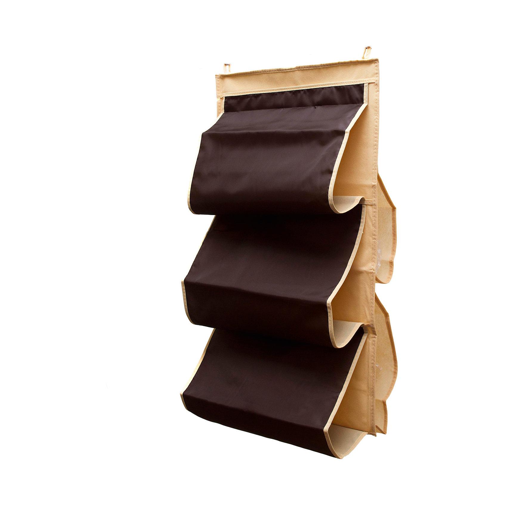 Органайзер для сумок в шкаф Costa-Rica, HomsuПорядок в детской<br>Характеристики товара:<br><br>• цвет: коричневый<br>• материал: полиэстер<br>• размер: 70х40х2 см.<br>• вес: 300 гр.<br>• застежка: молния<br>• крепление: крючок<br>• ручка для переноски<br>• вместимость: 5 отделений<br>• страна бренда: Россия<br>• страна изготовитель: Китай<br><br>Органайзер для сумок в шкаф Costa-Rica, Homsu (Хомсу) - очень удобная вещь для хранения вещей и эргономичной организации пространства.<br><br>Он состоит из пяти отделений, легко крепится на стену, дверь или внутрь шкафов.<br><br>Органайзер для сумок в шкаф Costa-Rica, Homsu можно купить в нашем интернет-магазине.<br><br>Ширина мм: 450<br>Глубина мм: 300<br>Высота мм: 20<br>Вес г: 300<br>Возраст от месяцев: 216<br>Возраст до месяцев: 1188<br>Пол: Унисекс<br>Возраст: Детский<br>SKU: 5620220