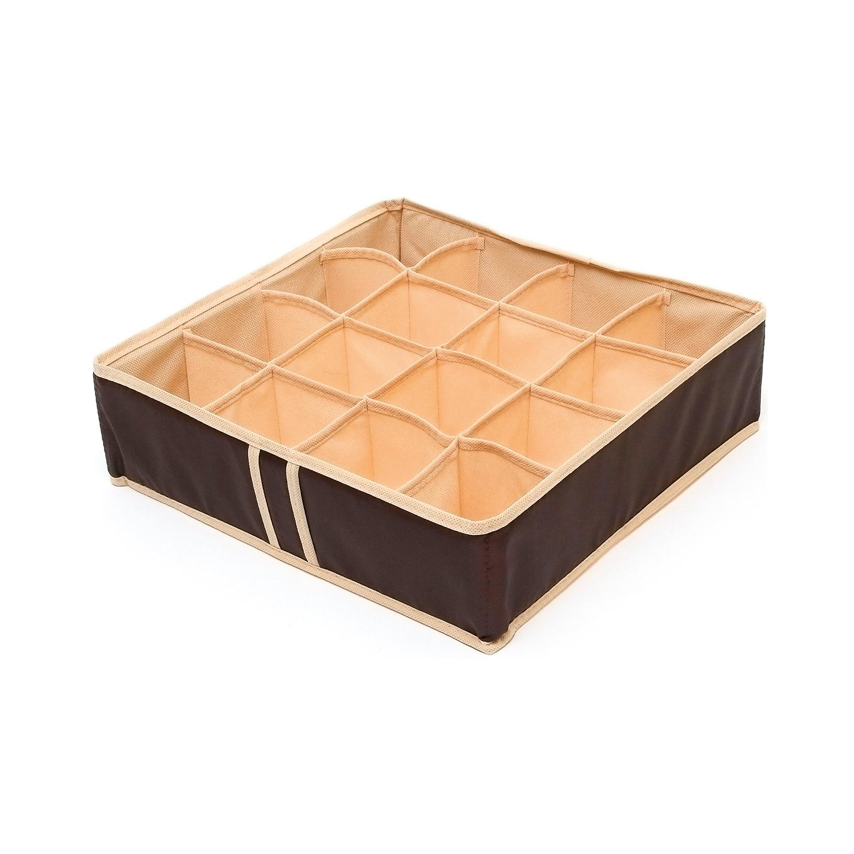 Органайзер на 16 ячеек Costa-Rica, HomsuПорядок в детской<br>Характеристики товара:<br><br>• цвет: коричневый<br>• материал: полиэстер, картон<br>• размер: 35х35х10 см<br>• вес: 200 г<br>• легкий прочный каркас<br>• обеспечивает естественную вентиляцию<br>• вместимость: 16 отделений<br>• страна бренда: Россия<br>• страна изготовитель: Китай<br><br>Органайзер на 16 ячеек Costa-Rica от бренда Homsu (Хомсу) - очень удобная вещь для хранения вещей и эргономичной организации пространства.<br><br>Он легкий, устойчивый, вместительный, обеспечивает естественную вентиляцию.<br><br>Органайзер для бюстгальтеров на 16 ячеек Costa-Rica, Homsu можно купить в нашем интернет-магазине.<br><br>Ширина мм: 350<br>Глубина мм: 100<br>Высота мм: 20<br>Вес г: 200<br>Возраст от месяцев: 216<br>Возраст до месяцев: 1188<br>Пол: Унисекс<br>Возраст: Детский<br>SKU: 5620222