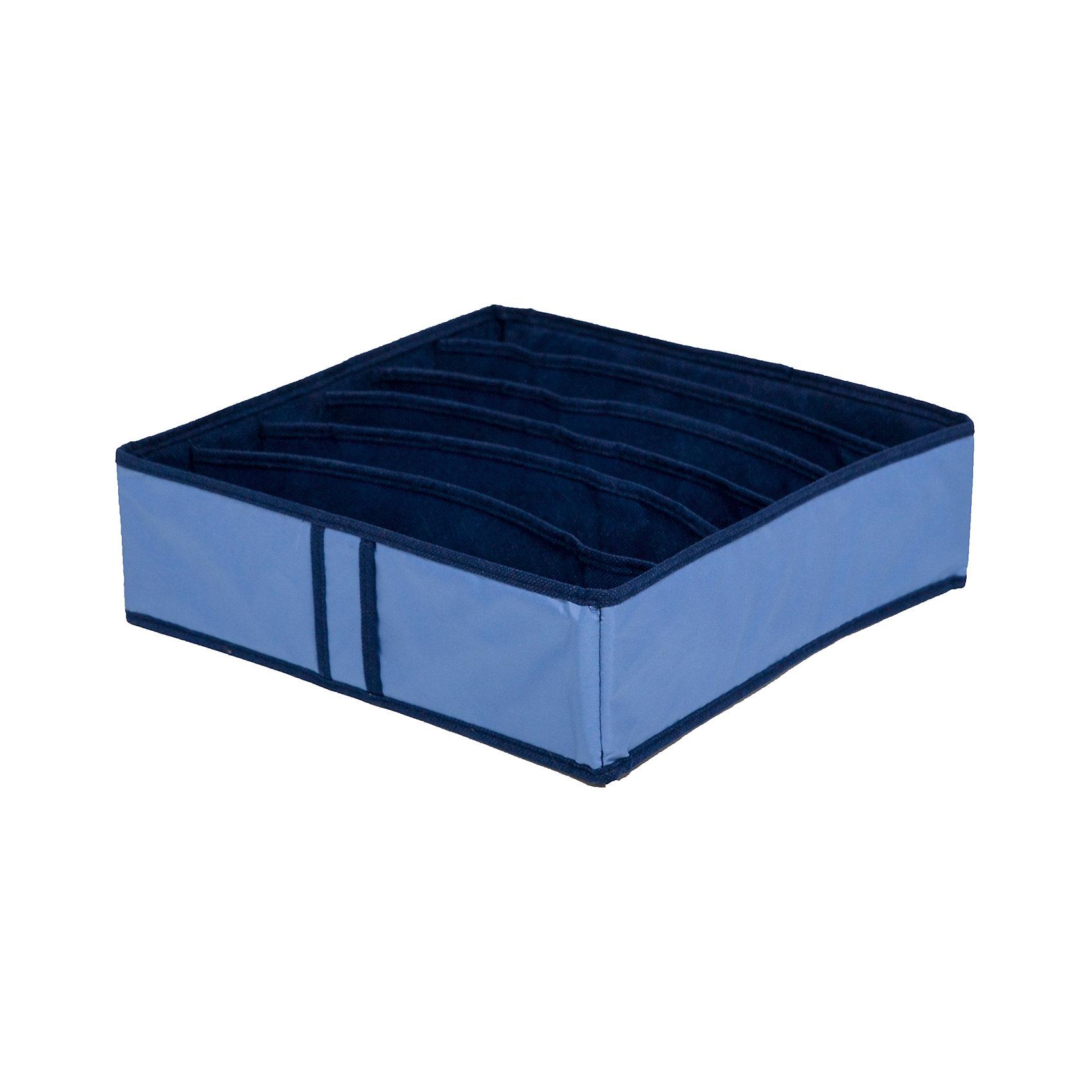 Органайзер для бюстгальтеров на 6 ячеек Bluе sky, HomsuПорядок в детской<br>Квадратный и плоский органайзер имеет 6 раздельных ячеек размером 32Х5см, очень удобен для хранения вещей среднего размера в вашем ящике или на полке. Идеально для бюстгальтеров, нижнего белья и других вещей ежедневного пользования. Имеет жесткие борта, что является гарантией сохранности вещей. Подходит в шкафы Били от Икея.<br><br>Ширина мм: 350<br>Глубина мм: 100<br>Высота мм: 20<br>Вес г: 200<br>Возраст от месяцев: 216<br>Возраст до месяцев: 1188<br>Пол: Женский<br>Возраст: Детский<br>SKU: 5620227