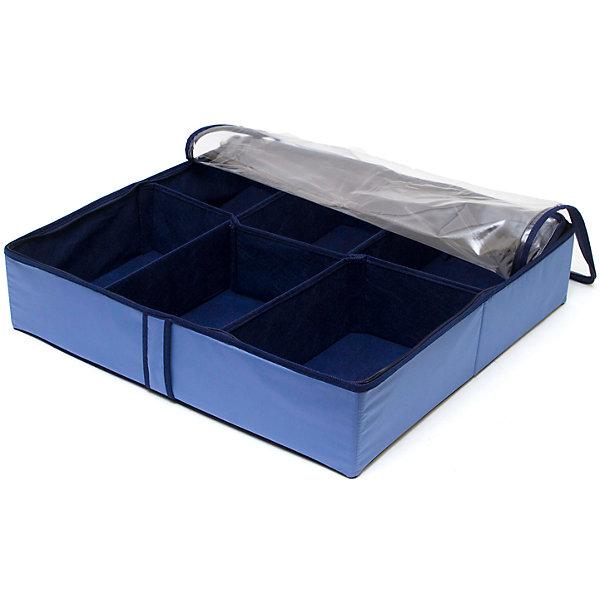 Органайзер для обуви на 6 боксов Blue sky, HomsuОрганайзеры для одежды<br>Характеристики товара:<br><br>• цвет: синий<br>• материал: спанбонд, картон, ПВХ<br>• размер: 56х52х12 см<br>• вес: 700 г<br>• легкий прочный каркас<br>• застежка: молния<br>• прозрачная крышка<br>• ручка для переноски<br>• вместимость: 6 отделений<br>• страна бренда: Россия<br>• страна изготовитель: Китай<br><br>Органайзер для обуви на 6 боксов Blue sky от бренда Homsu (Хомсу) - очень удобная вещь для хранения вещей и эргономичной организации пространства.<br><br>Он легкий, устойчивый, вместительный, имеет удобную ручку для переноски.<br><br>Органайзер для обуви на 6 боксов Blue sky, Homsu можно купить в нашем интернет-магазине.<br><br>Ширина мм: 540<br>Глубина мм: 290<br>Высота мм: 20<br>Вес г: 700<br>Возраст от месяцев: 216<br>Возраст до месяцев: 1188<br>Пол: Унисекс<br>Возраст: Детский<br>SKU: 5620229