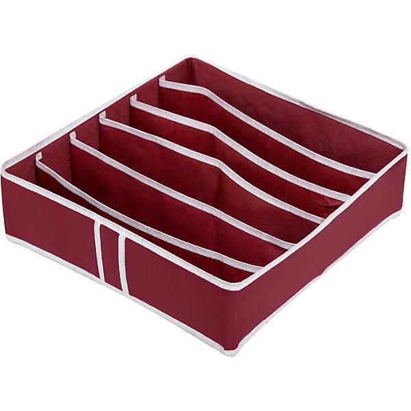 Органайзер для бюстгальтеров на 6 ячеек Red Rose, HomsuОрганайзеры для одежды<br>Характеристики товара:<br><br>• цвет: бордовый<br>• материал: спанбонд, картон, ПВХ<br>• размер: 31х24х11 см<br>• вес: 200 г<br>• легкий прочный каркас<br>• обеспечивает естественную вентиляцию<br>• вместимость: 6 отделений<br>• страна бренда: Россия<br>• страна изготовитель: Китай<br><br>Органайзер для бюстгальтеров на 6 ячеек Red Rose от бренда Homsu (Хомсу) - очень удобная вещь для хранения вещей и эргономичной организации пространства.<br><br>Он легкий, устойчивый, вместительный, обеспечивает естественную вентиляцию.<br><br>Органайзер для бюстгальтеров на 6 ячеек Red Rose, Homsu можно купить в нашем интернет-магазине.<br><br>Ширина мм: 350<br>Глубина мм: 100<br>Высота мм: 20<br>Вес г: 200<br>Возраст от месяцев: 216<br>Возраст до месяцев: 1188<br>Пол: Женский<br>Возраст: Детский<br>SKU: 5620233