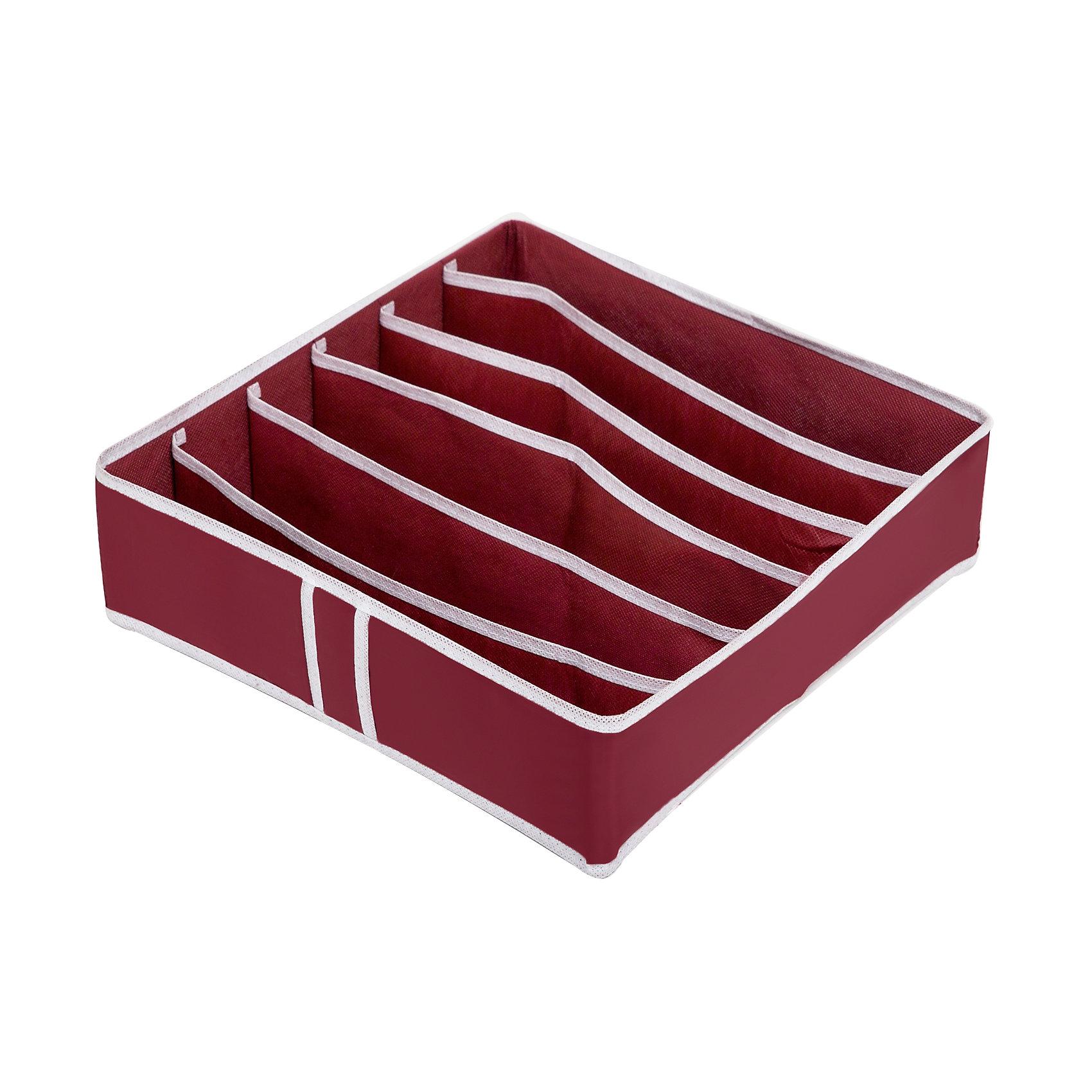 Органайзер для бюстгальтеров на 6 ячеек Red Rose, HomsuПорядок в детской<br>Квадратный и плоский органайзер имеет 6 раздельных ячеек размером 32Х5см, очень удобен для хранения вещей среднего размера в вашем ящике или на полке. Идеально для бюстгальтеров, нижнего белья и других вещей ежедневного пользования. Имеет жесткие борта, что является гарантией сохранности вещей. Подходит в шкафы Били от Икея.<br><br>Ширина мм: 350<br>Глубина мм: 100<br>Высота мм: 20<br>Вес г: 200<br>Возраст от месяцев: 216<br>Возраст до месяцев: 1188<br>Пол: Женский<br>Возраст: Детский<br>SKU: 5620233