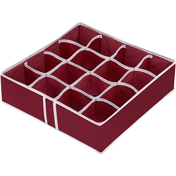 Органайзер на 16 ячеек Red Rose, HomsuОрганайзеры для одежды<br>Характеристики товара:<br><br>• цвет: бордовый<br>• материал: спанбонд, картон, ПВХ<br>• размер: 35х35х10 см<br>• вес: 200 г<br>• легкий прочный каркас<br>• обеспечивает естественную вентиляцию<br>• вместимость: 16 отделений<br>• страна бренда: Россия<br>• страна изготовитель: Китай<br><br>Органайзер на 16 ячеек Red Rose от бренда Homsu (Хомсу) - очень удобная вещь для хранения вещей и эргономичной организации пространства.<br><br>Он легкий, устойчивый, вместительный, обеспечивает естественную вентиляцию.<br><br>Органайзер для бюстгальтеров на 16 ячеек Red Rose, Homsu можно купить в нашем интернет-магазине.<br><br>Ширина мм: 350<br>Глубина мм: 100<br>Высота мм: 20<br>Вес г: 200<br>Возраст от месяцев: 216<br>Возраст до месяцев: 1188<br>Пол: Унисекс<br>Возраст: Детский<br>SKU: 5620236