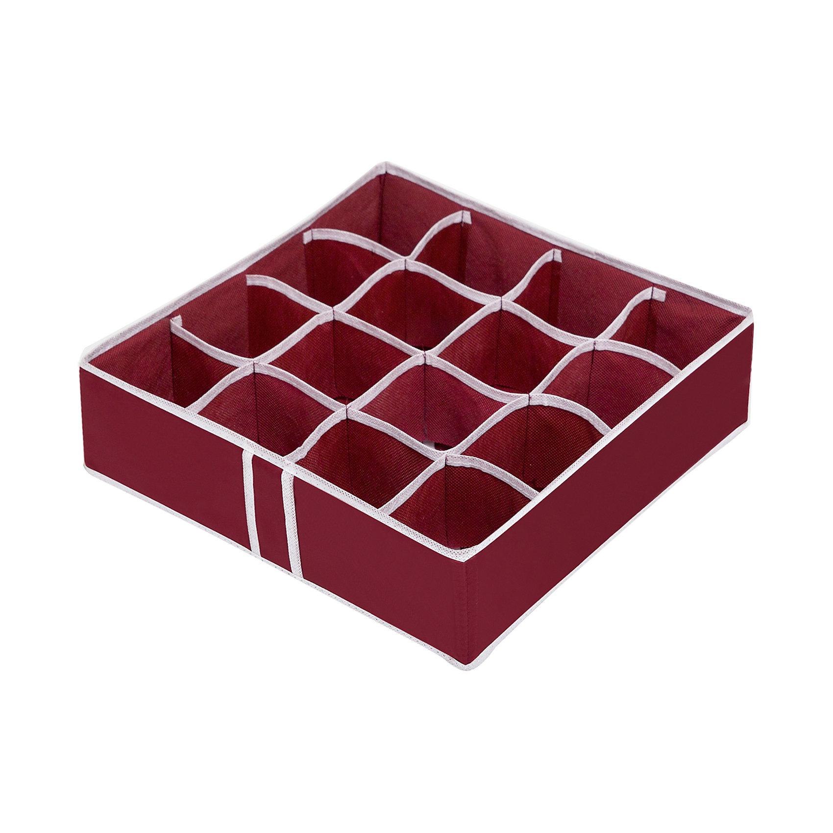 Органайзер на 16 ячеек Red Rose, HomsuПорядок в детской<br>Характеристики товара:<br><br>• цвет: бордовый<br>• материал: спанбонд, картон, ПВХ<br>• размер: 35х35х10 см<br>• вес: 200 г<br>• легкий прочный каркас<br>• обеспечивает естественную вентиляцию<br>• вместимость: 16 отделений<br>• страна бренда: Россия<br>• страна изготовитель: Китай<br><br>Органайзер на 16 ячеек Red Rose от бренда Homsu (Хомсу) - очень удобная вещь для хранения вещей и эргономичной организации пространства.<br><br>Он легкий, устойчивый, вместительный, обеспечивает естественную вентиляцию.<br><br>Органайзер для бюстгальтеров на 16 ячеек Red Rose, Homsu можно купить в нашем интернет-магазине.<br><br>Ширина мм: 350<br>Глубина мм: 100<br>Высота мм: 20<br>Вес г: 200<br>Возраст от месяцев: 216<br>Возраст до месяцев: 1188<br>Пол: Унисекс<br>Возраст: Детский<br>SKU: 5620236