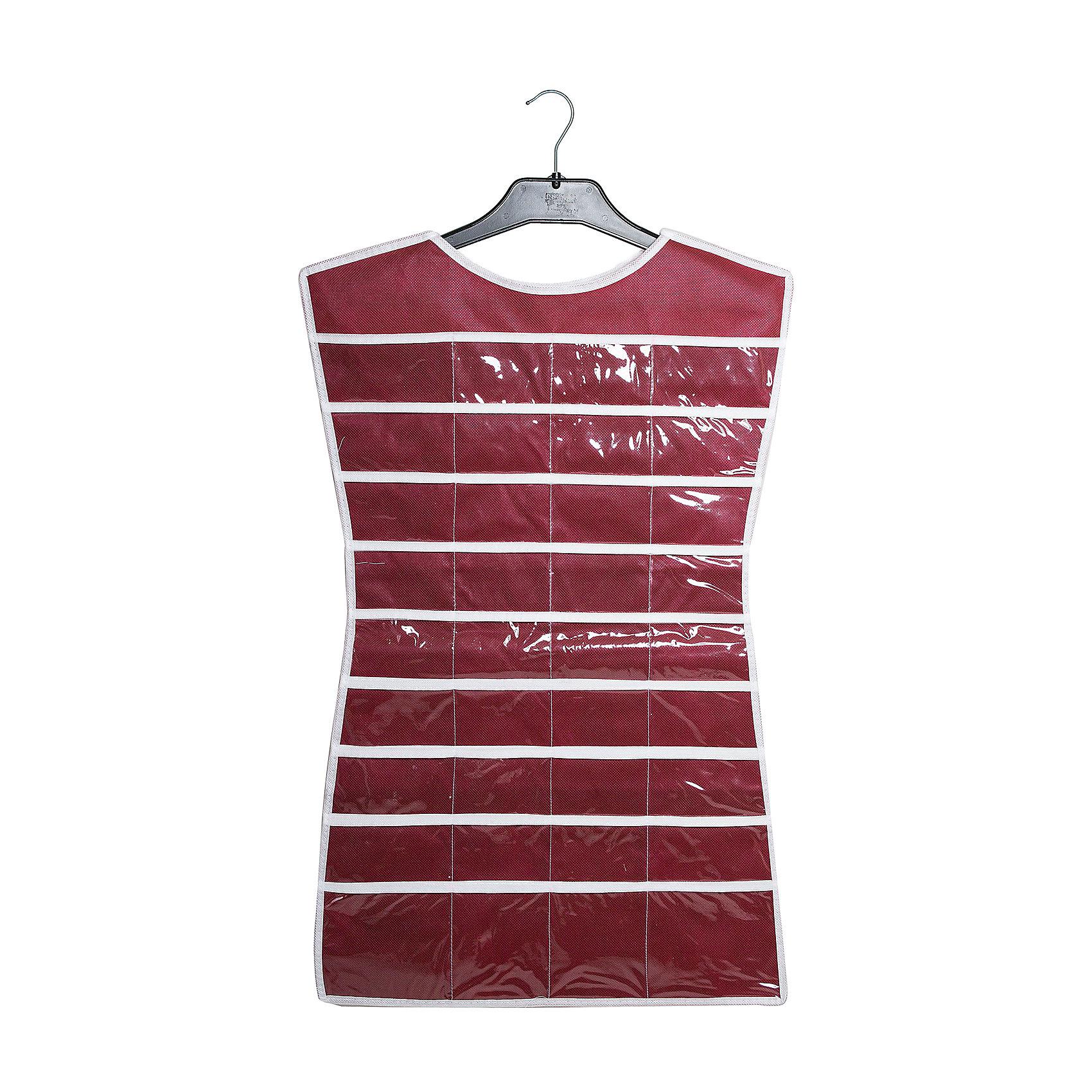 Органайзер-платье для украшений Red Rose, HomsuПорядок в детской<br>Характеристики товара:<br><br>• цвет: бордовый<br>• материал: полиэстер, ПВХ<br>• размер: 46х75 см<br>• вес: 300 г<br>• подвесной<br>• крепление: крючок<br>• вместимость: 36 отделений<br>• страна бренда: Россия<br>• страна изготовитель: Китай<br><br>Органайзер-платье для украшений Red Rose от бренда Homsu (Хомсу) - очень удобная вещь для хранения вещей и эргономичной организации пространства.<br><br>Он легкий, вместительный, легко помещается в шкафу или на двери.<br><br>Органайзер-платье для украшений Red Rose, Homsu можно купить в нашем интернет-магазине.<br><br>Ширина мм: 500<br>Глубина мм: 400<br>Высота мм: 20<br>Вес г: 300<br>Возраст от месяцев: 216<br>Возраст до месяцев: 1188<br>Пол: Унисекс<br>Возраст: Детский<br>SKU: 5620238