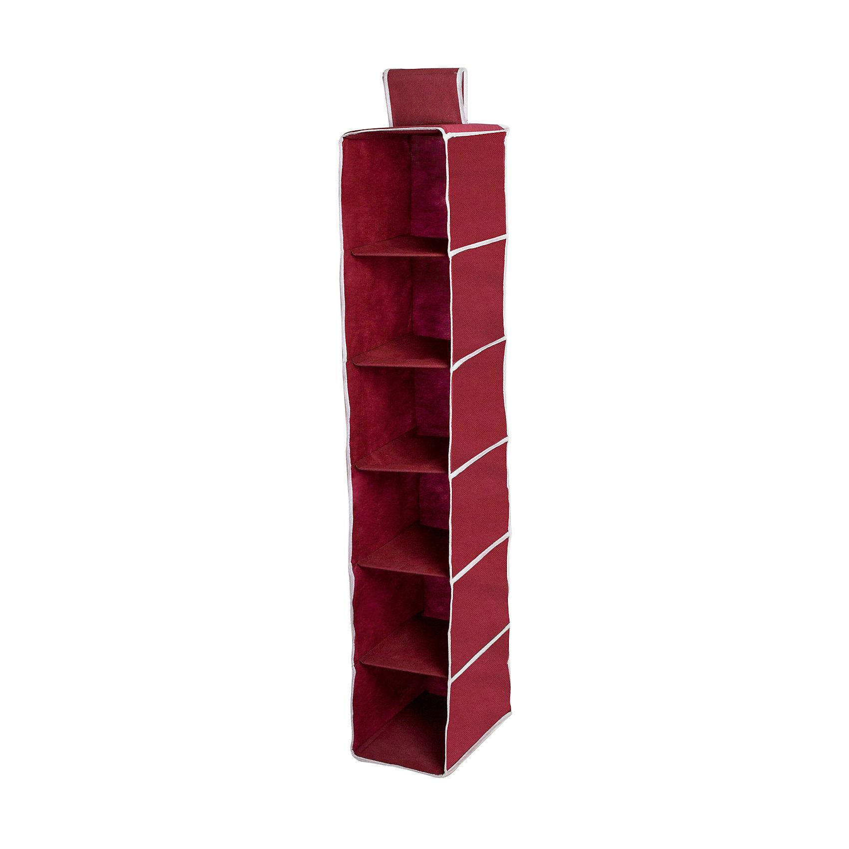 Органайзер подвесной в шкаф Red Rose, HomsuПорядок в детской<br>Характеристики товара:<br><br>• цвет: бордовый<br>• материал: полиэстер, картон<br>• размер: 30х20х120 см<br>• вес: 500 г<br>• легкий прочный каркас<br>• обеспечивает естественную вентиляцию<br>• вместимость: 6 отделений<br>• страна бренда: Россия<br>• страна изготовитель: Китай<br><br>Органайзер подвесной в шкаф Red Rose от бренда Homsu (Хомсу) - очень удобная вещь для хранения вещей и эргономичной организации пространства.<br><br>Предмет легкий, вместительный, обеспечивает естественную вентиляцию.<br><br>Органайзер подвесной в шкаф Red Rose, Homsu можно купить в нашем интернет-магазине.<br><br>Ширина мм: 300<br>Глубина мм: 250<br>Высота мм: 20<br>Вес г: 500<br>Возраст от месяцев: 216<br>Возраст до месяцев: 1188<br>Пол: Унисекс<br>Возраст: Детский<br>SKU: 5620239