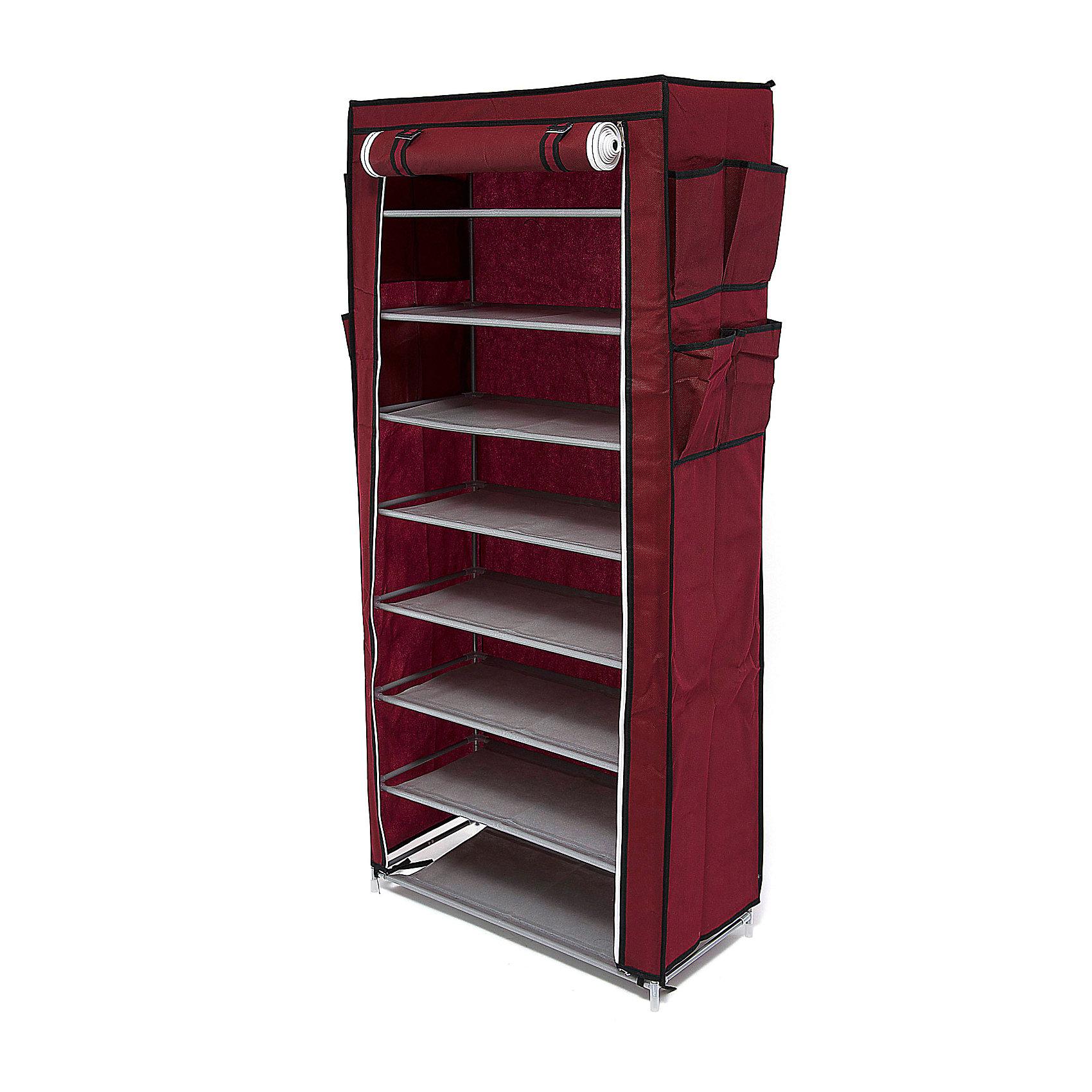 Тканевый шкаф для обуви и аксессуаров Элис, Homsu, бордовыйПорядок в детской<br>Характеристики товара:<br><br>• цвет: бордовый<br>• материал: металл, пластик, текстиль<br>• размер: 60х30х136 см<br>• вес: 3 кг<br>• застежка: молния<br>• твердый каркас<br>• вместимость: 8 полок 60х30 см, 4 кармана<br>• страна бренда: Россия<br>• страна изготовитель: Китай<br><br>Тканевый шкаф для обуви и аксессуаров Элис, Homsu (Хомсу) - очень удобная вещь для хранения вещей и эргономичной организации пространства.<br><br>Он состоит из восьми отделений, легко собирается и разбирается, позволяет удобно разместить обувь и разные мелочи.<br><br>Тканевый шкаф для обуви и аксессуаров Элис, Homsu можно купить в нашем интернет-магазине.<br><br>Ширина мм: 600<br>Глубина мм: 260<br>Высота мм: 70<br>Вес г: 3000<br>Возраст от месяцев: 216<br>Возраст до месяцев: 1188<br>Пол: Унисекс<br>Возраст: Детский<br>SKU: 5620241