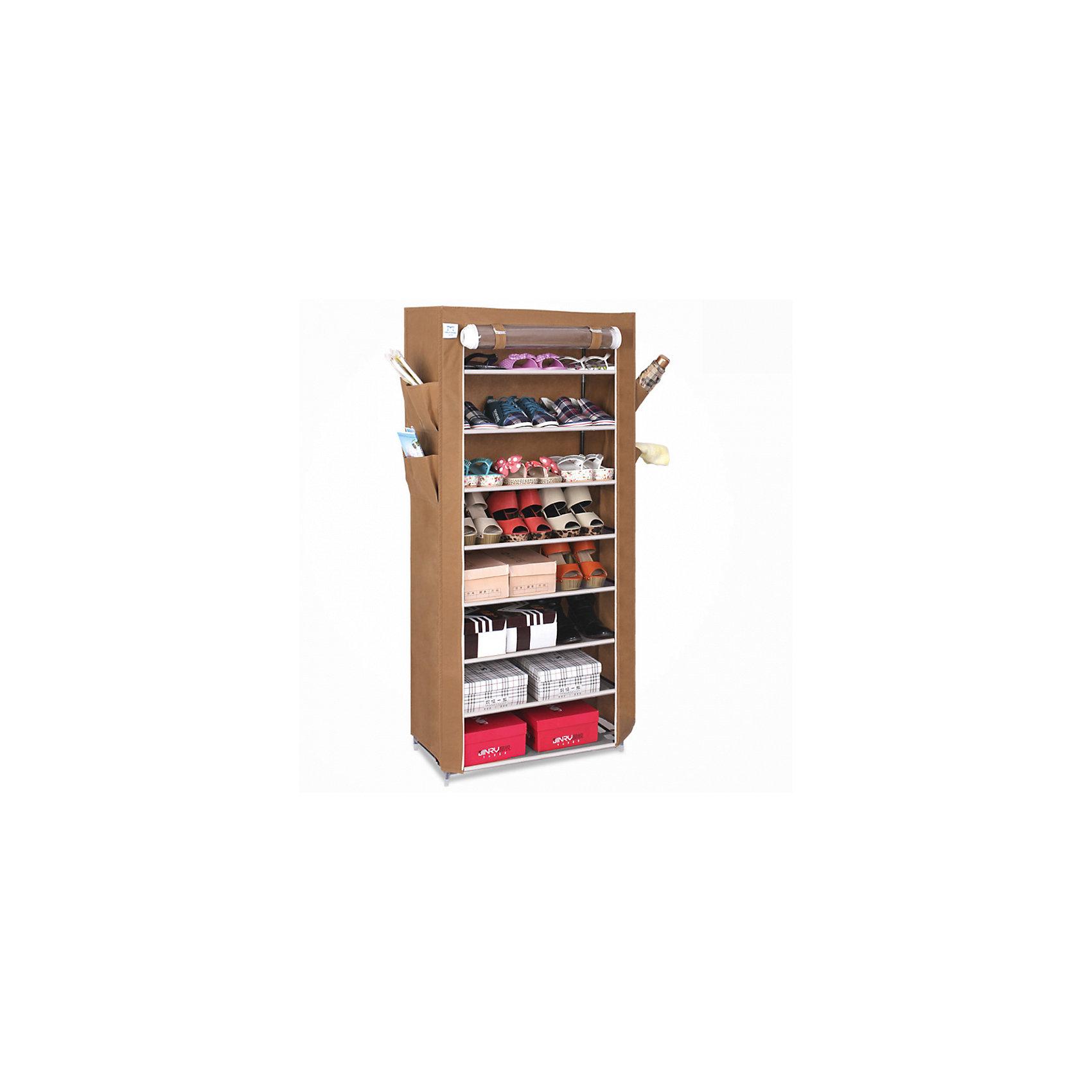 Тканевый шкаф для обуви и аксессуаров Элис, Homsu, коричневыйПорядок в детской<br>Этот шкаф предназначен для комфортного, практичного и удобного хранения обуви и других предметов в вашем доме.<br>Выполненный в коричневом цвете, такой шкаф вполне может стать полноценным дополнением к вашей уютной домашней обстановке. 8 полок для обуви размером 60Х30см плюс боковые кармашки для тапочек, зонтов и всяких мелочей надолго обеспечат полный порядок в прихожей..<br><br>Ширина мм: 600<br>Глубина мм: 260<br>Высота мм: 70<br>Вес г: 3000<br>Возраст от месяцев: 216<br>Возраст до месяцев: 1188<br>Пол: Унисекс<br>Возраст: Детский<br>SKU: 5620242