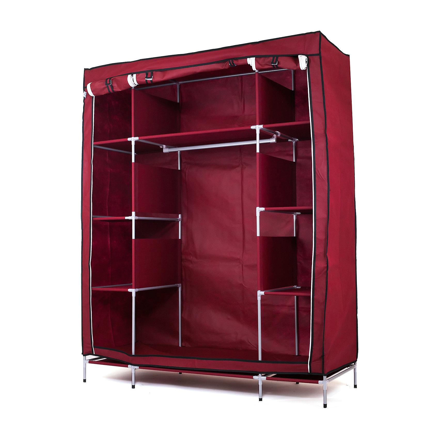Тканевый шкаф Маджорити, Homsu, бордовыйПорядок в детской<br>Этот большой тканевый шкаф будет максимально практичным и удобным помощником в создании полноценного порядка благодаря 8 маленьким полкам для складывания одежды 35Х50см и 1 большой- 70Х50см , а также отделению для подвешивания одежды высотой 120см и шириной 70см. Сборная конструкция такого шкафа состоит из металлических деталей каркаса, обтянутых сверху прочной и лёгкой тканью.<br><br>Ширина мм: 650<br>Глубина мм: 350<br>Высота мм: 110<br>Вес г: 6000<br>Возраст от месяцев: 216<br>Возраст до месяцев: 1188<br>Пол: Унисекс<br>Возраст: Детский<br>SKU: 5620244