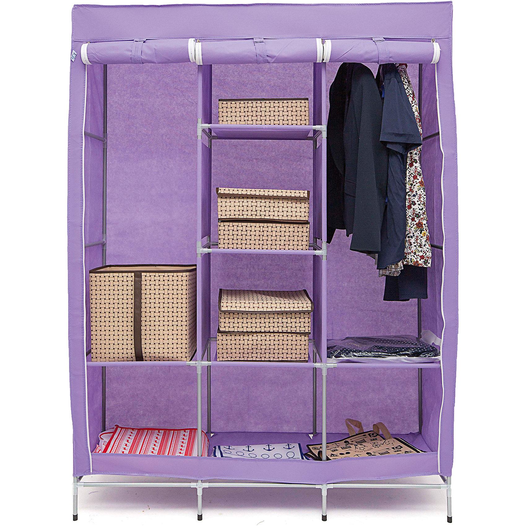Тканевый шкаф Онтарио, Homsu, фиолетовыйПорядок в детской<br>Этот большой тканевый шкаф будет максимально практичным и удобным помощником в создании полноценного порядка благодаря 6 полкам для складывания одежды 40Х45см и двум отделениям для подвешивания одежды. Сборная конструкция такого шкафа состоит из металлических деталей каркаса, обтянутых сверху прочной и лёгкой тканью.<br><br>Ширина мм: 600<br>Глубина мм: 350<br>Высота мм: 100<br>Вес г: 4500<br>Возраст от месяцев: 216<br>Возраст до месяцев: 1188<br>Пол: Унисекс<br>Возраст: Детский<br>SKU: 5620250