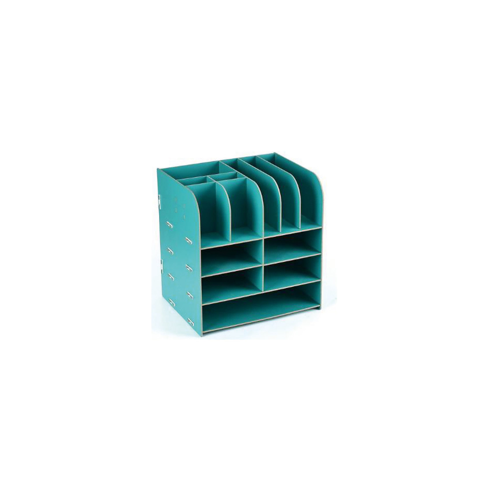 Органайзер большой, Homsu, бирюзовыйПредметы интерьера<br>Этот настольный органайзер просто незаменим на рабочем столе, он вместителен, его размеры впечатляют- 32.5Х25Х30см и в то же время он не занимает много места. Яркий дизайн дополнит интерьер дома и разбавит цвет в скучном сером офисе. Он изготовлен из МДФ и легко собирается из съемных частей. Имеет одно отделение для хранения документов и множество ячеек для хранения канцелярских предметов и всяких мелочей.<br><br>Ширина мм: 300<br>Глубина мм: 330<br>Высота мм: 60<br>Вес г: 2000<br>Возраст от месяцев: 216<br>Возраст до месяцев: 1188<br>Пол: Унисекс<br>Возраст: Детский<br>SKU: 5620258