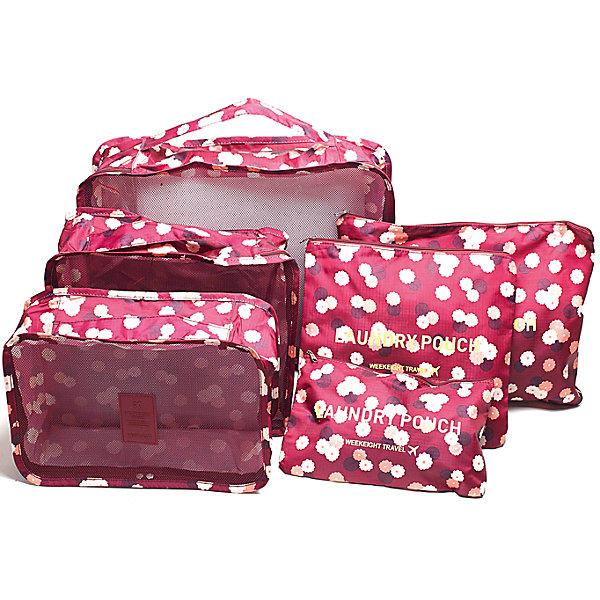 Набор органайзеров для багажа Цветок, Homsu, бордовыйОрганайзеры для одежды<br>Характеристики товара:<br><br>• цвет: бордовый<br>• материал: металл, полиэстер, сетка<br>• размер: 40х30х10см; 30х25х10см; 30х20х10см; 35х25см; 25х25см: 25х15см<br>• вес: 500 г<br>• комплектация: 6 шт<br>• застежка: молния<br>• ручки для переноски<br>• страна бренда: Россия<br>• страна изготовитель: Китай<br><br>Набор органайзеров для багажа Цветок от бренда Homsu (Хомсу) - очень удобная вещь для хранения вещей и поездок.<br><br>Они легкие, вместительные, некоторые имеют удобную ручку для переноски, помогают защитить вещи от повреждений и загрязнений.<br><br>Набор органайзеров для багажа Цветок, Homsu можно купить в нашем интернет-магазине.<br>Ширина мм: 400; Глубина мм: 300; Высота мм: 120; Вес г: 500; Возраст от месяцев: 216; Возраст до месяцев: 1188; Пол: Унисекс; Возраст: Детский; SKU: 5620283;