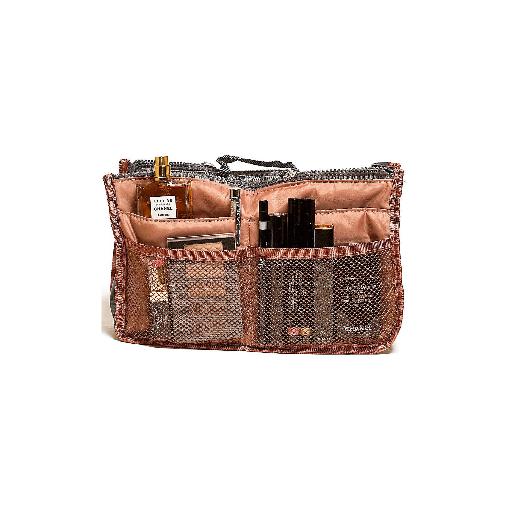 Органайзер для сумки, Homsu, кофейныйПорядок в детской<br>Этот органайзер для сумки благодаря трем вместительным отделениям для вещей, четырем кармашкам по бокам и шести кармашкам в виде сетки обеспечит полный порядок в вашей сумке. Кроме того, изделие обладает интересным стилем, выполнено в коричневом цвете и оснащёно двумя крепкими ручками, что позволяет применять его и вне сумки, как отдельный аксессуар.<br><br>Ширина мм: 280<br>Глубина мм: 30<br>Высота мм: 170<br>Вес г: 200<br>Возраст от месяцев: 216<br>Возраст до месяцев: 1188<br>Пол: Унисекс<br>Возраст: Детский<br>SKU: 5620307