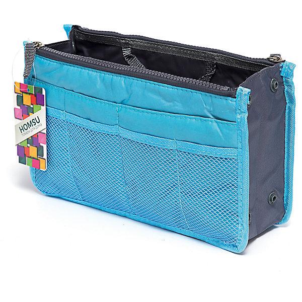 Органайзер для сумки, Homsu, синийОрганайзеры для одежды<br>Характеристики товара:<br><br>• цвет: синий<br>• материал: ткань, полиэстер<br>• размер: 30х8х18 см<br>• вес: 200 г<br>• застежка: молния<br>• ручки для переноски<br>• вместимость: 3 отделения, 10 карманов<br>• страна бренда: Россия<br>• страна изготовитель: Китай<br><br>Органайзер для сумки от бренда Homsu (Хомсу) - очень удобная вещь для хранения вещей и эргономичной организации пространства.<br><br>Он легкий, вместительный, имеет удобную ручку для переноски, можно использовать как отдельный аксессуар.<br><br>Органайзер для сумки, Homsu можно купить в нашем интернет-магазине.<br><br>Ширина мм: 280<br>Глубина мм: 30<br>Высота мм: 170<br>Вес г: 200<br>Возраст от месяцев: 216<br>Возраст до месяцев: 1188<br>Пол: Унисекс<br>Возраст: Детский<br>SKU: 5620311