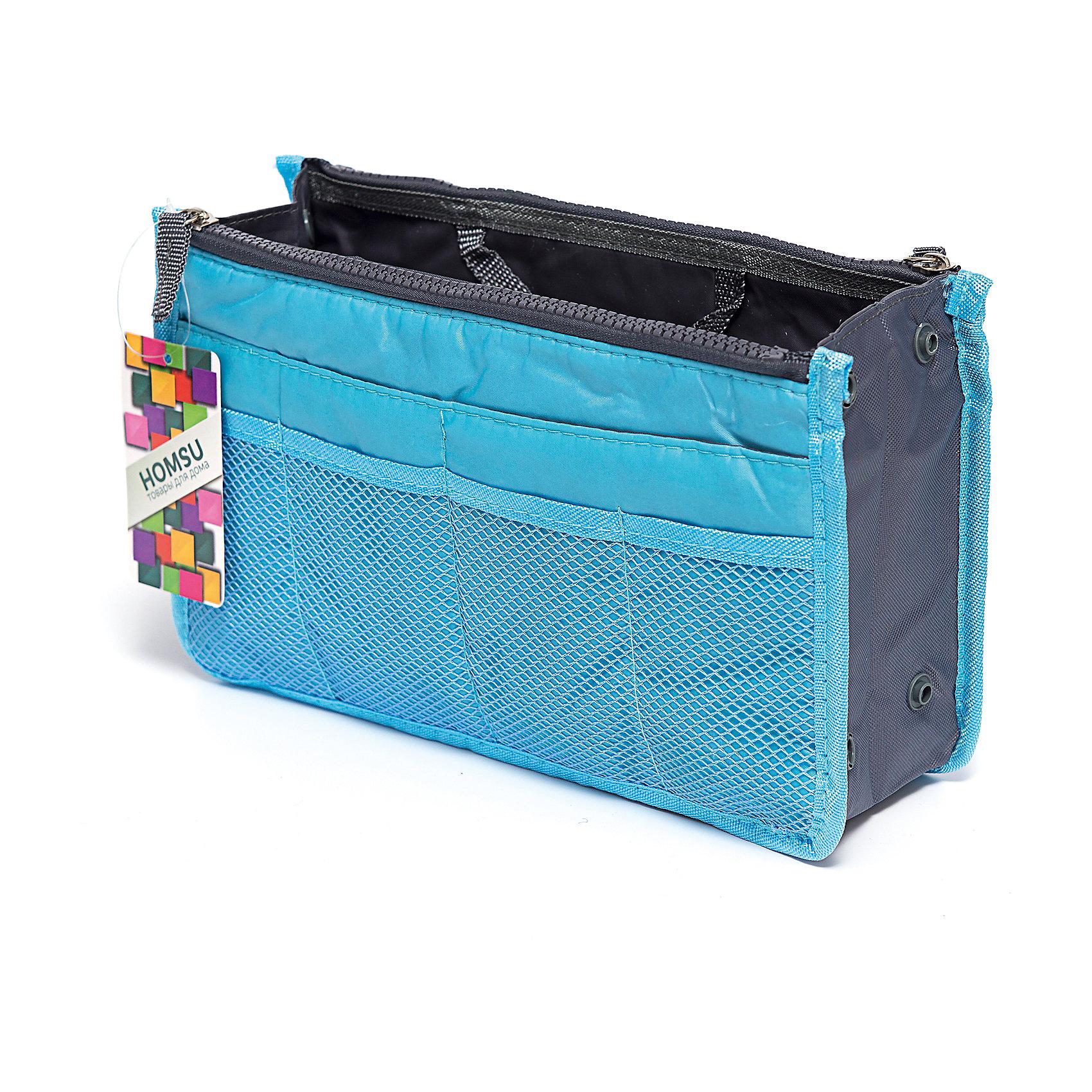 Органайзер для сумки, Homsu, синийПорядок в детской<br>Этот органайзер для сумки благодаря трем вместительным отделениям для вещей, четырем кармашкам по бокам и шести кармашкам в виде сетки обеспечит полный порядок в вашей сумке. Кроме того, изделие обладает интересным стилем, выполнено в желтом цвете и оснащёно двумя крепкими ручками, что позволяет применять его и вне сумки, как отдельный аксессуар.<br><br>Ширина мм: 280<br>Глубина мм: 30<br>Высота мм: 170<br>Вес г: 200<br>Возраст от месяцев: 216<br>Возраст до месяцев: 1188<br>Пол: Унисекс<br>Возраст: Детский<br>SKU: 5620311