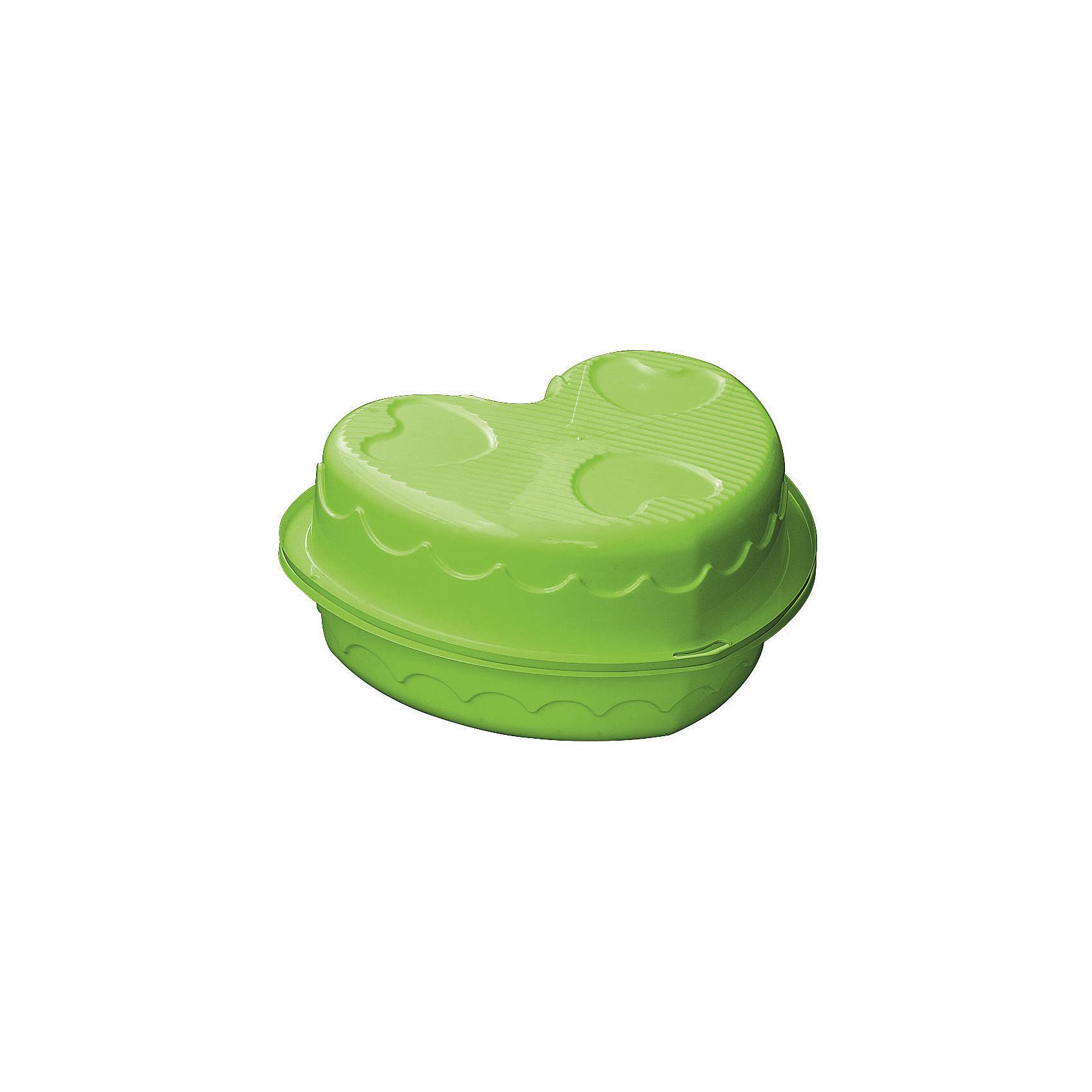 Двойная песочница-сердечко, PalPlay, зеленаяИграем в песочнице<br>Характеристики товара:<br><br>• возраст от 1 года;<br>• материал: пластик;<br>• размер песочницы 180х79х20 см;<br>• высота бортиков 20 см;<br>• размер упаковки 90,5х79х40 см;<br>• вес упаковки 3,2 кг;<br>• страна производитель: Израиль.<br><br>Двойная песочница-сердечко Marian Plast зеленая разнообразит детские игры на свежем воздухе. Песочница имеет 2 половинки, что позволит в ней играть сразу 2 детям. Каждая половинка оборудована небольшим сидением. На природе песочницу можно использовать и как бассейн, достаточно просто наполнить ее водой. Для игры дома ее можно наполнить специальными шариками. Обе половинки складываются вместе, в сложенном виде песочница помещается в автомобиле. Песочница изготовлена из безопасного качественного пластика.<br><br>Двойную песочницу-сердечко Marian Plast зеленую можно приобрести в нашем интернет-магазине.<br><br>Ширина мм: 905<br>Глубина мм: 790<br>Высота мм: 400<br>Вес г: 3160<br>Возраст от месяцев: 12<br>Возраст до месяцев: 60<br>Пол: Унисекс<br>Возраст: Детский<br>SKU: 5621465