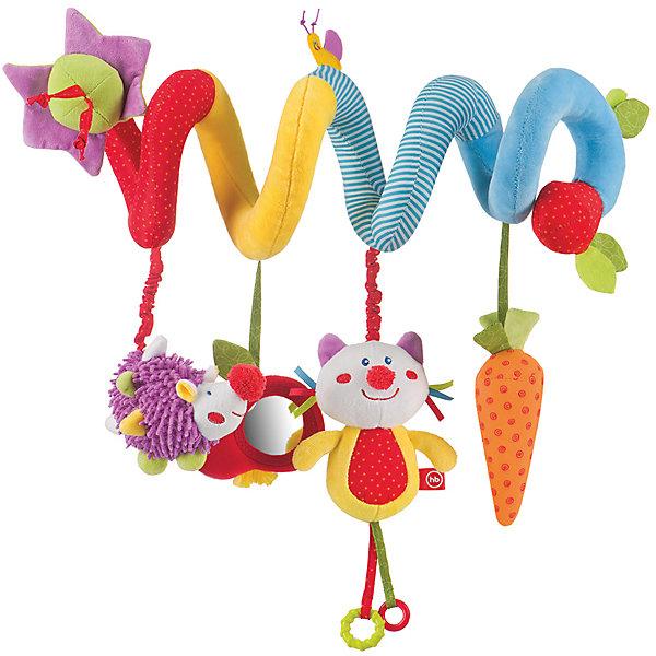 Развивающая игрушка-подвеска  Pretty Garden, Happy BabyИгрушки для новорожденных<br>Характеристики:<br><br>• Вид игр: развивающие, обучающие<br>• Материал: полиэстер, хлопок, полимерный материал<br>• Тип крепления: завязки, гибкая спираль<br>• Наличие звуковых, шумовых эффектов<br>• Наличие игрушек-подвесок<br>• Вес: 96 г<br>• Параметры (Д*Ш*В): 5,8*12*30 см <br>• Особенности ухода: влажная и сухая чистка<br><br>Развивающая игрушка-подвеска   Pretty Garden, Happy Baby выполнена в виде мягкой спирали, на которую нанизаны игрушки-подвески: котик, ежик, морковка. Игрушка состоит из элементов разного цвета, фактуры и с различными звуковыми эффектами. Игры с такой погремушкой будут способствовать зрительному и слуховому восприятию, координации движений, будут развивать мелкую моторику рук и эмоциональную сферу ребенка.   <br><br>Развивающую игрушку-подвеску   Pretty Garden, Happy Baby можно купить в нашем интернет-магазине.<br>Ширина мм: 130; Глубина мм: 233; Высота мм: 475; Вес г: 216; Возраст от месяцев: 0; Возраст до месяцев: 18; Пол: Унисекс; Возраст: Детский; SKU: 5621700;
