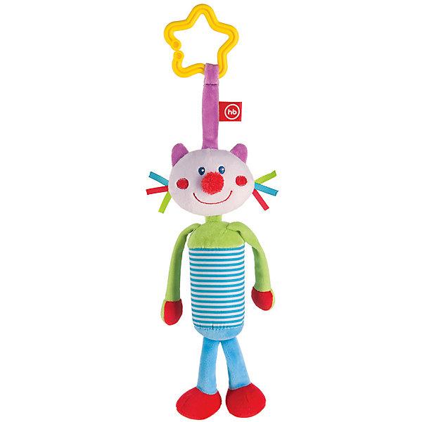 Развивающая игрушка Колокольчик Perky Kitty, Happy BabyИгрушки для новорожденных<br>Характеристики:<br><br>• Вид игр: развивающие, обучающие<br>• Материал: полиэстер, хлопок<br>• Тип крепления: кольцо<br>• Универсальный размер<br>• Вес: 840 г<br>• Параметры (Д*Ш*В): 5*12*27,5 см <br>• Особенности ухода: влажная и сухая чистка<br><br>Развивающая игрушка Колокольчик Perky Kitty, Happy Baby выполнена в виде очаровательного кота с длинными лапками. Внутри туловища котика имеется колокольчик, который при потрясывании игрушки издает мягкие    звуки. Детали у кота имеют разную фактуру и цвет, что важно для развития тактильных ощущений. Игры с такой   игрушкой будут способствовать зрительному и слуховому восприятию, координации движений, будут развивать мелкую моторику рук и эмоциональную сферу ребенка.   <br><br>Развивающую игрушку Колокольчик Perky Kitty, Happy Baby можно купить в нашем интернет-магазине.<br>Ширина мм: 4; Глубина мм: 120; Высота мм: 275; Вес г: 840; Возраст от месяцев: 0; Возраст до месяцев: 18; Пол: Унисекс; Возраст: Детский; SKU: 5621705;