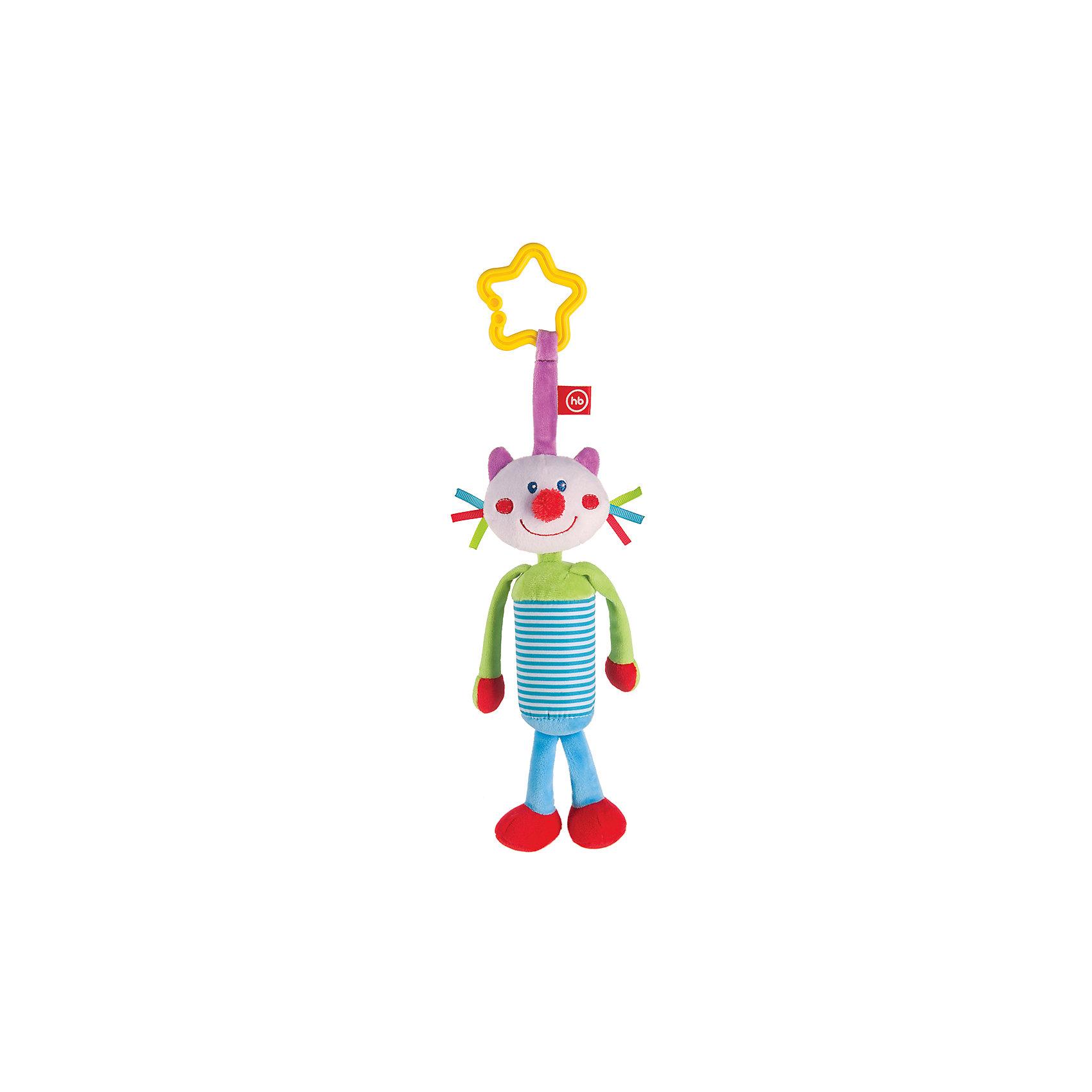 Развивающая игрушка Колокольчик Perky Kitty, Happy BabyРазвивающие игрушки<br>Характеристики:<br><br>• Вид игр: развивающие, обучающие<br>• Материал: полиэстер, хлопок<br>• Тип крепления: кольцо<br>• Универсальный размер<br>• Вес: 840 г<br>• Параметры (Д*Ш*В): 5*12*27,5 см <br>• Особенности ухода: влажная и сухая чистка<br><br>Развивающая игрушка Колокольчик Perky Kitty, Happy Baby выполнена в виде очаровательного кота с длинными лапками. Внутри туловища котика имеется колокольчик, который при потрясывании игрушки издает мягкие    звуки. Детали у кота имеют разную фактуру и цвет, что важно для развития тактильных ощущений. Игры с такой   игрушкой будут способствовать зрительному и слуховому восприятию, координации движений, будут развивать мелкую моторику рук и эмоциональную сферу ребенка.   <br><br>Развивающую игрушку Колокольчик Perky Kitty, Happy Baby можно купить в нашем интернет-магазине.<br><br>Ширина мм: 4<br>Глубина мм: 120<br>Высота мм: 275<br>Вес г: 840<br>Возраст от месяцев: 0<br>Возраст до месяцев: 18<br>Пол: Унисекс<br>Возраст: Детский<br>SKU: 5621705