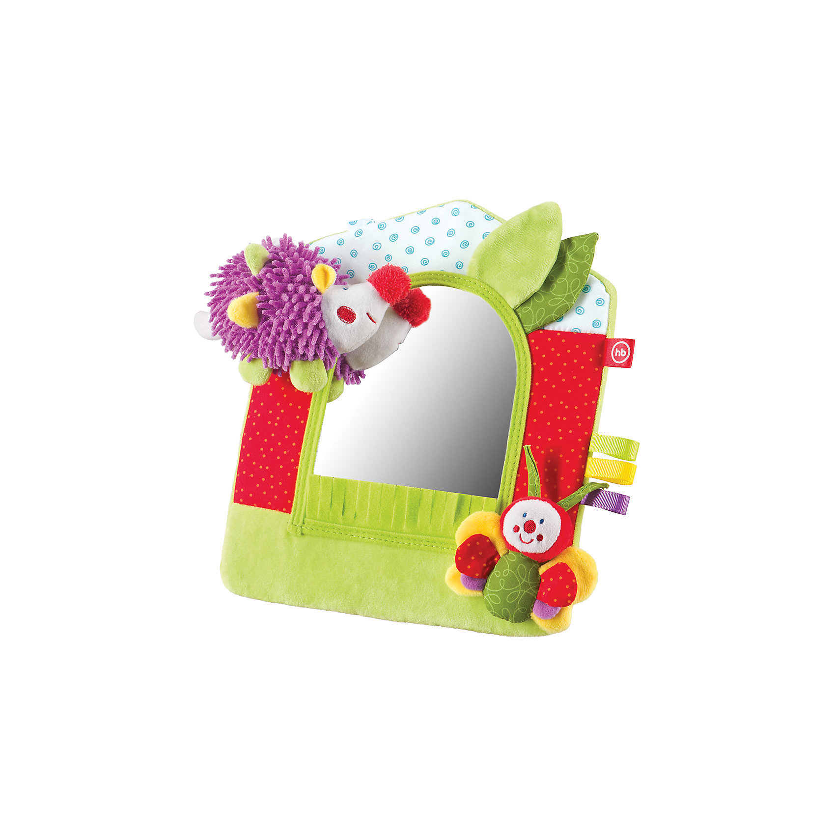 Развивающая игрушка Зеркало Lovely Garden, Happy BabyИгрушки для малышей<br>Безопасное зеркало LOVELY GARDEN снабжено подставкой и является не просто игрушкой, которая играет огромную роль в осознании ребёнком себя, но и отличным способом украсить интерьер детской комнаты. Детское зеркало оформлено в виде лесной полянки, на которой под шуршащими листочками живёт маленький ёжик.<br><br>Ширина мм: 37<br>Глубина мм: 205<br>Высота мм: 300<br>Вес г: 165<br>Возраст от месяцев: 0<br>Возраст до месяцев: 18<br>Пол: Унисекс<br>Возраст: Детский<br>SKU: 5621706