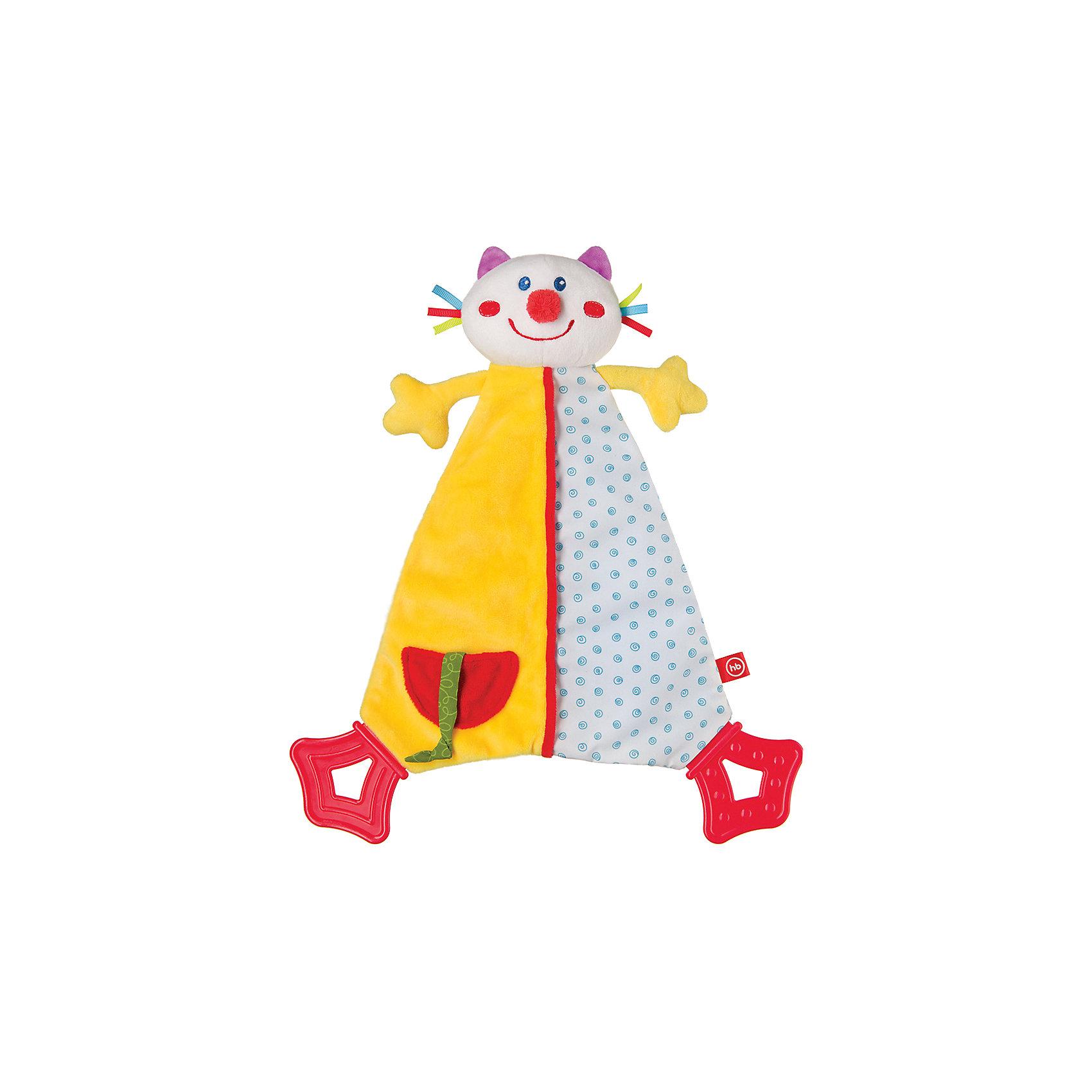 Развивающая игрушка Платок Dreamy Kitty, Happy BabyРазвивающие игрушки<br>Характеристики:<br><br>• Вид игр: развивающие, обучающие<br>• Материал: полиэстер, хлопок, пластик<br>• Наличие звуковых эффектов<br>• Наличие ребристых элементов<br>• Вес: 127 г<br>• Параметры (Д*Ш*В): 5*22*33,5 см <br>• Особенности ухода: влажная и сухая чистка<br><br>Развивающая игрушка Платок Dreamy Kitty, Happy Baby   выполнена в форме веселого котика с большим туловищем. Передние лапки у кота – мягкие, задние – из безопасного пластика с ребристой поверхностью. Сбоку имеется кармашек с ленточкой-тесьмой. Все детали имеют разную фактуру и цвет, что важно для развития тактильных ощущений. Игры с такой игрушкой будут способствовать зрительному и слуховому восприятию, координации движений, будут развивать мелкую моторику рук и эмоциональную сферу ребенка.   <br><br>Развивающую игрушку Платок Dreamy Kitty, Happy Baby можно купить в нашем интернет-магазине.<br><br>Ширина мм: 50<br>Глубина мм: 220<br>Высота мм: 335<br>Вес г: 127<br>Возраст от месяцев: 0<br>Возраст до месяцев: 18<br>Пол: Унисекс<br>Возраст: Детский<br>SKU: 5621708