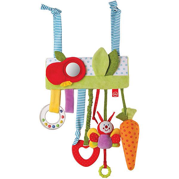 Развивающая игрушка-подвеска  Jolly Garden, Happy BabyИгрушки для новорожденных<br>Характеристики:<br><br>• Вид игр: развивающие, обучающие<br>• Материал: полиэстер, хлопок, полимерный материал<br>• Тип крепления: завязки<br>• Наличие звуковых, шумовых эффектов<br>• Наличие игрушек-подвесок<br>• Вес: 125 г<br>• Параметры (Д*Ш*В): 2,5*20,5*35 см <br>• Особенности ухода: влажная и сухая чистка<br><br>Развивающая игрушка-подвеска   Jolly Garden, Happy Baby   выполнена в виде мягкой планки с яблочком, на которую нанизаны игрушки-подвески: бабочка, морковка, кольцо с бусинами, ленточки. Подвески имеют разную фактуру, цвет, длину и различные шумовые эффекты. Игры с такой игрушкой будут способствовать зрительному и слуховому восприятию, координации движений, будут развивать мелкую моторику рук и эмоциональную сферу ребенка.   <br><br>Развивающую игрушку-подвеску   Jolly Garden, Happy Baby   можно купить в нашем интернет-магазине.<br><br>Ширина мм: 25<br>Глубина мм: 205<br>Высота мм: 350<br>Вес г: 125<br>Возраст от месяцев: 0<br>Возраст до месяцев: 18<br>Пол: Унисекс<br>Возраст: Детский<br>SKU: 5621709