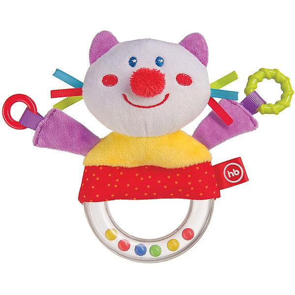 Погремушка-пищалка  Funny Kitty, Happy babyПогремушки<br>Характеристики:<br><br>• Вид игр: развивающие, обучающие<br>• Материал: полиэстер, хлопок, пластик<br>• Тип крепления: завязки<br>• Наличие звуковых, шумовых эффектов<br>• Вес: 87 г<br>• Параметры (Д*Ш*В): 5*14*21,7 см <br>• Особенности ухода: влажная и сухая чистка<br><br>Погремушка-пищалка   Funny Kitty, Happy baby выполнена в виде веселого котика, который закреплен на кольце с бусинами внутри. У кольца удобный размер для детской руки. Котик состоит из элементов разного цвета, фактуры и с различными звуковыми эффектами. Игры с такой игрушкой будут способствовать зрительному и слуховому восприятию, координации движений, будут развивать мелкую моторику рук и эмоциональную сферу ребенка.   <br><br>Погремушку-пищалку   Funny Kitty, Happy baby   можно купить в нашем интернет-магазине.<br>Ширина мм: 50; Глубина мм: 140; Высота мм: 217; Вес г: 87; Возраст от месяцев: 3; Возраст до месяцев: 18; Пол: Унисекс; Возраст: Детский; SKU: 5621711;