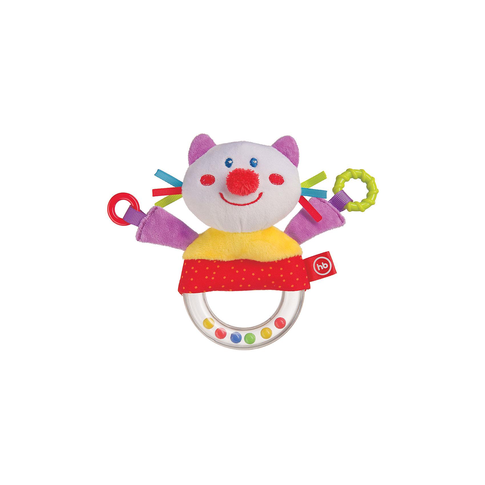 Погремушка-пищалка  Funny Kitty, Happy babyПогремушки<br>Характеристики:<br><br>• Вид игр: развивающие, обучающие<br>• Материал: полиэстер, хлопок, пластик<br>• Тип крепления: завязки<br>• Наличие звуковых, шумовых эффектов<br>• Вес: 87 г<br>• Параметры (Д*Ш*В): 5*14*21,7 см <br>• Особенности ухода: влажная и сухая чистка<br><br>Погремушка-пищалка   Funny Kitty, Happy baby выполнена в виде веселого котика, который закреплен на кольце с бусинами внутри. У кольца удобный размер для детской руки. Котик состоит из элементов разного цвета, фактуры и с различными звуковыми эффектами. Игры с такой игрушкой будут способствовать зрительному и слуховому восприятию, координации движений, будут развивать мелкую моторику рук и эмоциональную сферу ребенка.   <br><br>Погремушку-пищалку   Funny Kitty, Happy baby   можно купить в нашем интернет-магазине.<br><br>Ширина мм: 50<br>Глубина мм: 140<br>Высота мм: 217<br>Вес г: 87<br>Возраст от месяцев: 3<br>Возраст до месяцев: 18<br>Пол: Унисекс<br>Возраст: Детский<br>SKU: 5621711