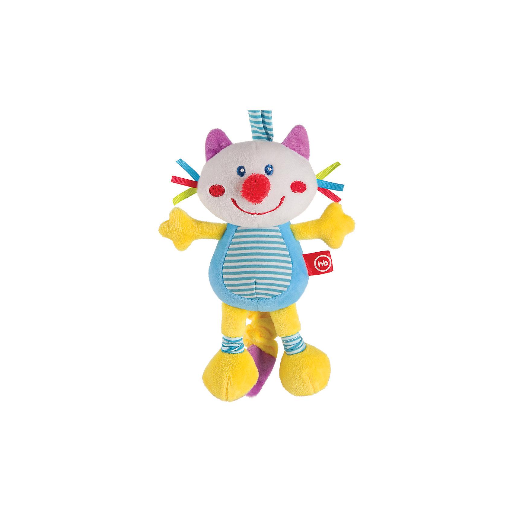Игрушка мягконабивная Frisky Kitty, Happy babyМягкие игрушки-кошки<br>Характеристики:<br><br>• Вид игр: развивающие, обучающие<br>• Материал: полиэстер, хлопок<br>• Тип крепления: завязки<br>• Наличие звуковых, шумовых эффектов<br>• Наличие вибрации<br>• Вес: 157 г<br>• Параметры (Д*Ш*В): 8*19*33,5 см <br>• Особенности ухода: влажная и сухая чистка<br><br>Игрушка мягконабивная Frisky Kitty, Happy baby выполнена в виде веселого котика, у которого хвостик умеет расправляться и собираться по типу пружинки. Для этого достаточно потянуть за хвостик, он вытянется, а при возвращении к исходной длине игрушка вибрирует. Котик состоит из элементов разного цвета, фактуры и с различными звуковыми эффектами. Игры с такой игрушкой будут способствовать зрительному и слуховому восприятию, координации движений, будут развивать мелкую моторику рук и эмоциональную сферу ребенка.   <br><br>Игрушку мягконабивную Frisky Kitty, Happy baby можно купить в нашем интернет-магазине.<br><br>Ширина мм: 80<br>Глубина мм: 190<br>Высота мм: 335<br>Вес г: 157<br>Возраст от месяцев: 0<br>Возраст до месяцев: 18<br>Пол: Унисекс<br>Возраст: Детский<br>SKU: 5621714