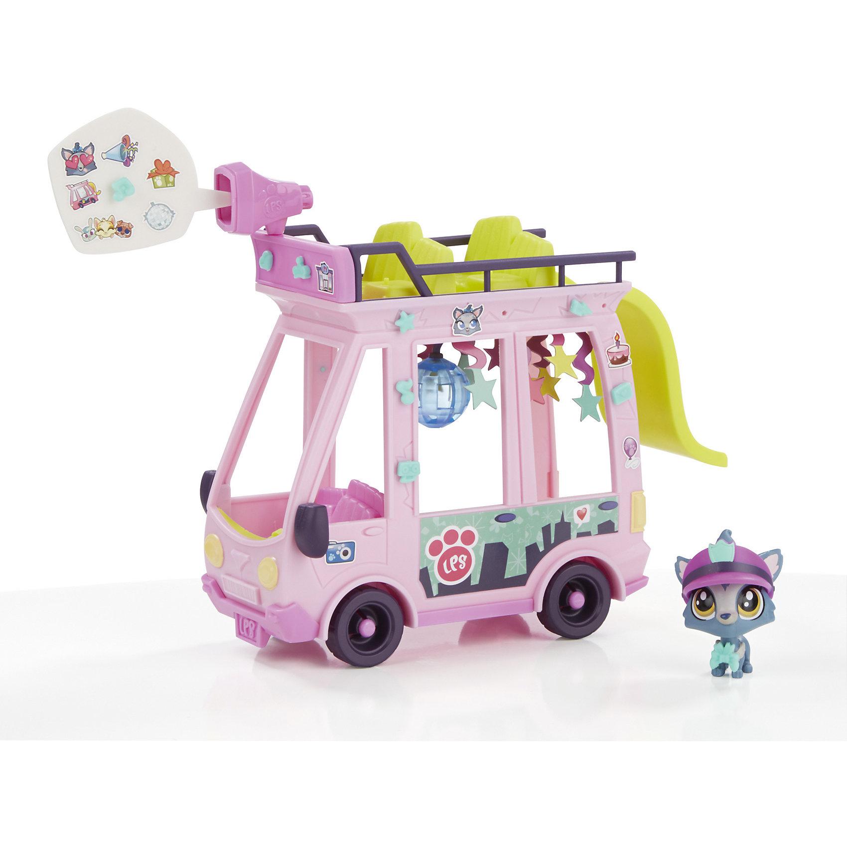 Игровой набор Автобус, Littlest Pet Shop, HasbroКоляски и транспорт для кукол<br>Настоящая вечеринка в двухэтажном автобусе! В автобус помещается 5 большиз зверюшек и 5 малышей. Различные аксессуары и элменты декора помогут сделать вечеринку еще более веселой! В наборе эксклюзивная зверюшка собаки и большой бабл  и стикеры, чтобы рассказать, о чем думают их зверюшки! Собери их всех!<br><br>Ширина мм: 265<br>Глубина мм: 259<br>Высота мм: 222<br>Вес г: 318<br>Возраст от месяцев: 48<br>Возраст до месяцев: 2147483647<br>Пол: Унисекс<br>Возраст: Детский<br>SKU: 5622045