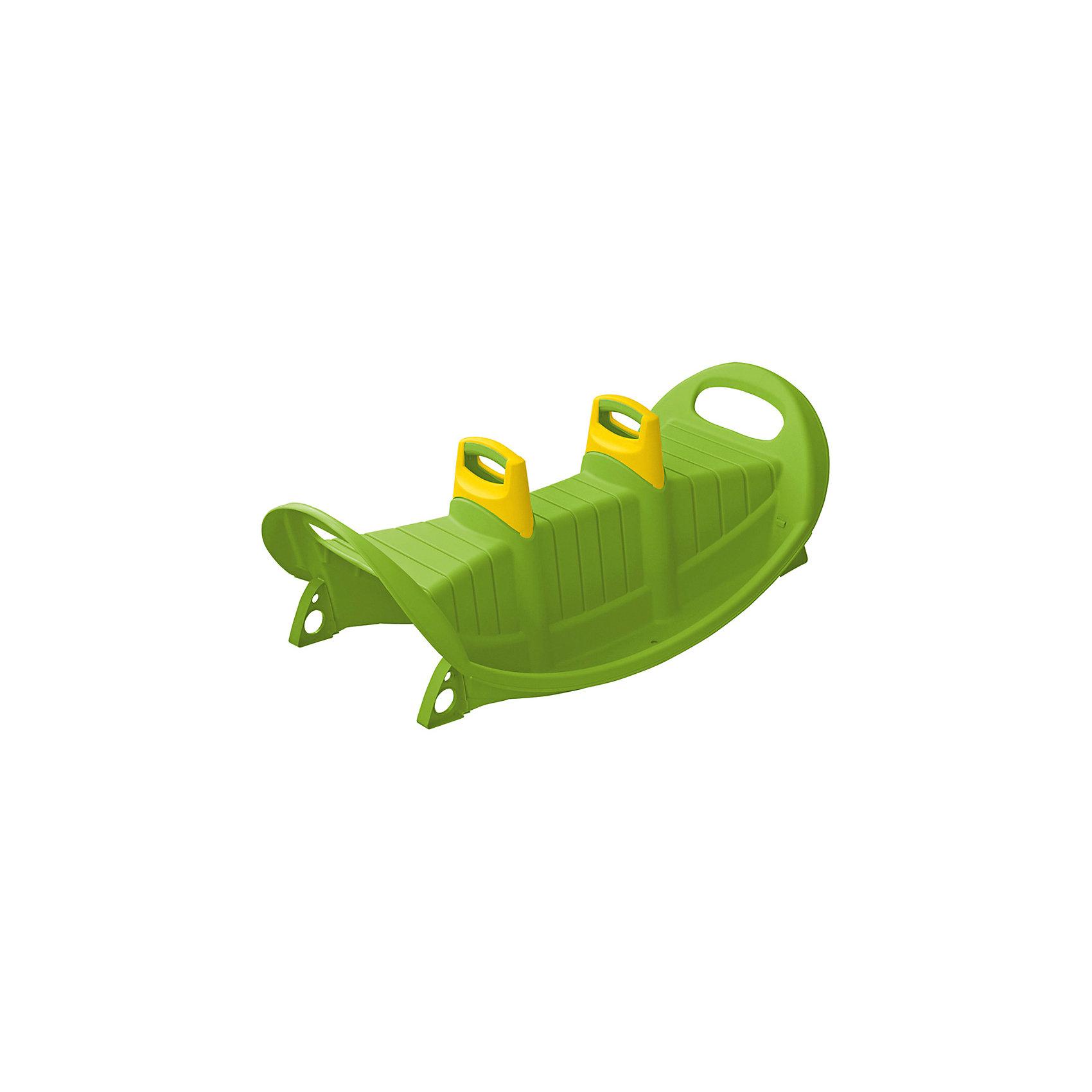 Качели Трио, зеленые, PalPlayКачели и качалки<br>Характеристики товара:<br><br>• возраст от 1,5 лет;<br>• материал: пластик;<br>• размер качелей 116x57x44,5 см;<br>• размер упаковки 116x57x44,5 см;<br>• вес упаковки 3,27 кг;<br>• страна производитель: Израиль.<br><br>Качели Трио Marian Plast зеленые разнообразят детскую прогулку на свежем воздухе, отдых на даче или игры с друзьями на детской площадке. Они оборудованы удобными ручками, за которые можно держаться во время катания, и 2 спинками по бокам. Внизу расположен бортик-подножка. На качелях могут кататься одновременно 3 малыша. Качели выполнены из прочного качественного пластика, безопасного для детей. Игрушка способствует развитию равновесия, координации движений, ловкости.<br><br>Качели Трио Marian Plast зеленые можно приобрести в нашем интернет-магазине.<br><br>Ширина мм: 1160<br>Глубина мм: 570<br>Высота мм: 445<br>Вес г: 3270<br>Возраст от месяцев: 18<br>Возраст до месяцев: 96<br>Пол: Унисекс<br>Возраст: Детский<br>SKU: 5622520