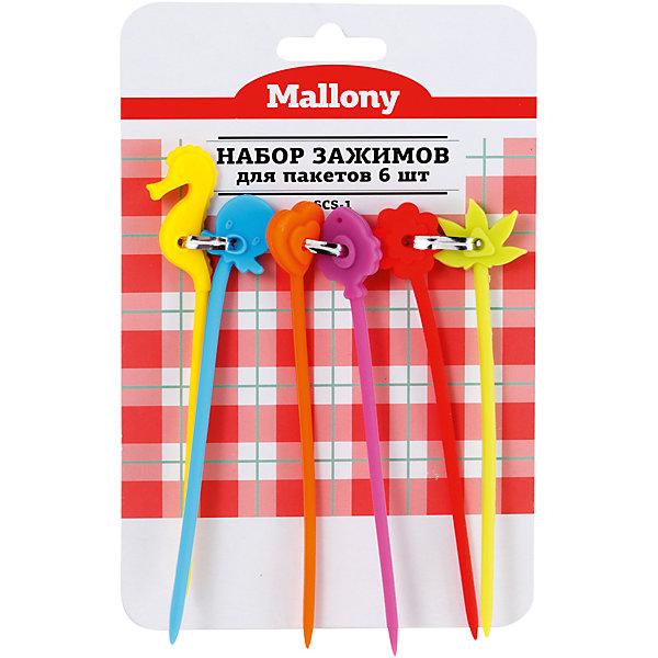 Набор зажимов для пакетов 6 шт. SCS-1 , р-р 12,5 см (силикон), MallonyКухонная утварь<br>Набор зажимов для пакетов 6 шт. SCS-1 , р-р 12,5 см (силикон), Mallony (Маллони)<br><br>Характеристики:<br><br>• в комплекте: 6 зажимов<br>• материал: силикон<br>• размер зажима: 12,5 см<br>• размер упаковки: 2х12х17 см<br>• вес: 38 грамм<br><br>Зажимы для пакетов SCS-1 помогут сохранить продукты свежими. Зажимы изготовлены из силикона и отличаются оригинальным дизайном. В комплект входят 6 зажимов с основаниями, имеющими причудливую форму. Такие зажимы станут настоящим украшением для вашей кухни.<br><br>Набор зажимов для пакетов 6 шт. SCS-1 , р-р 12,5 см (силикон), Mallony (Маллони) можно купить в нашем интернет-магазине.<br>Ширина мм: 170; Глубина мм: 120; Высота мм: 20; Вес г: 38; Возраст от месяцев: 216; Возраст до месяцев: 1188; Пол: Унисекс; Возраст: Детский; SKU: 5622841;