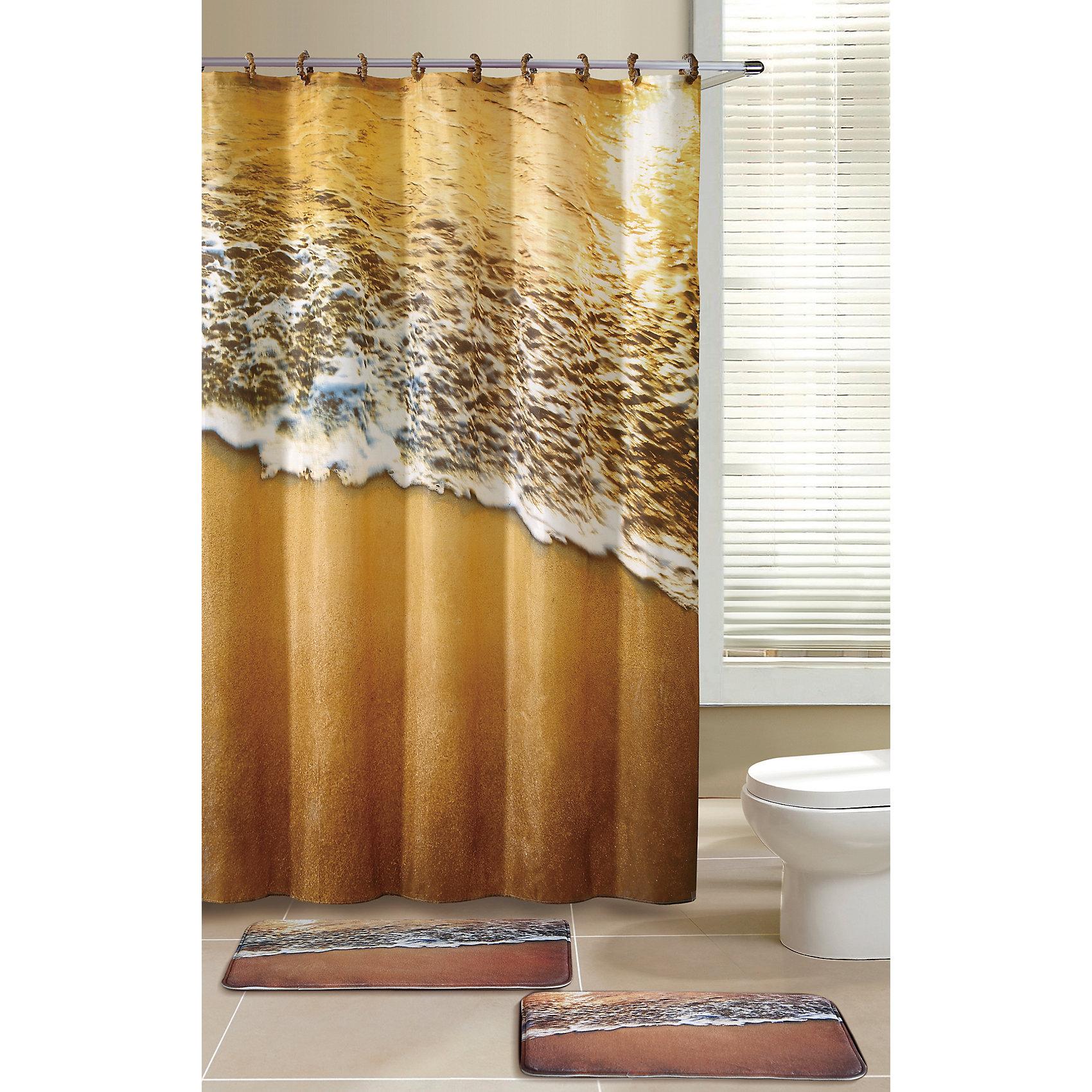 Набор из 3-х предметов для ванной комнаты Морской прибой SET3- COAST, Рыжий котВанная комната<br>Набор из 3-х предметов для ванной комнаты Морской прибой SET3- COAST:  2 коврика (микрофибра), 1 занавеска, в комплекте с крючками.<br><br>Ширина мм: 750<br>Глубина мм: 470<br>Высота мм: 30<br>Вес г: 1010<br>Возраст от месяцев: 216<br>Возраст до месяцев: 1188<br>Пол: Унисекс<br>Возраст: Детский<br>SKU: 5622857