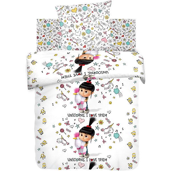 Постельное белье 1,5 Агнес с единорогом, бязь, Миньоны (70*70)Детское постельное бельё<br>Характеристики:<br><br>• Вид домашнего текстиля: постельное белье<br>• Тип постельного белья по размерам: 1,5 спальное<br>• Материал: хлопок, 100% <br>• Коллекция: Диско<br>• Тематика рисунка: миньоны, Агнес<br>• Комплектация: <br> пододеяльник 215*143 см – 1 шт. <br> простынь 150*214 см– 1 шт. <br> наволочка 70*70 см – 1 шт. <br>• Тип упаковки: картонная коробка <br>• Вес в упаковке: 1 кг 200 г<br>• Размеры упаковки (Д*Ш*В): 50*25*50 см<br>• Особенности ухода: допускается интенсивная машинная стирка без использования красящих и отбеливающих веществ<br><br>Постельное белье 1,5 Агнес с единорогом, бязь, Миньоны (70*70) выполнено в стильном дизайне: на белом фоне изображена Агнес с единорогом в окружении миньонов. Комплект упакован в брендовую картонную коробку, поэтому его можно преподнести в качестве подарка на любой праздник или торжество.<br><br>Постельное белье 1,5 Агнес с единорогом, бязь, Миньоны (70*70) можно купить в нашем интернет-магазине.<br><br>Ширина мм: 500<br>Глубина мм: 250<br>Высота мм: 500<br>Вес г: 1200<br>Возраст от месяцев: 36<br>Возраст до месяцев: 144<br>Пол: Женский<br>Возраст: Детский<br>SKU: 5623425