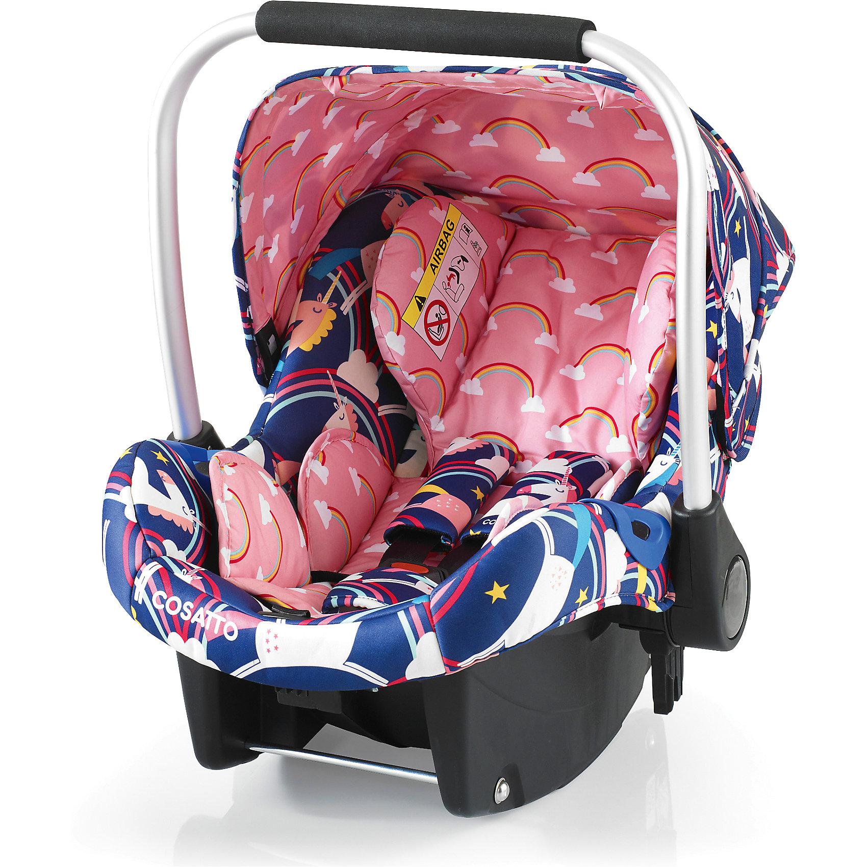 Автокресло Cosatto Port, 0-13 кг., Magic UnicornsГруппа 0+ (До 13 кг)<br>Детское автокресло COSSATO PORT предназначено для безопасных и комфортных поездок в автомобиле. <br><br>Также кресло может быть установлено на шасси колясок COSATTO Fly, Wish и Ooba.<br><br>Характеристики:<br><br>    Автокресло группы 0+ для детей с рождения весом до 13 кг<br>    Устанавливается против хода движения автомобиля<br>    Возможность установки на заднем и переднем сидении автомобиля при отсутствии подушки безопасности<br>    Крепление штатным ремнем безопасности автомобиля или с помощью базы Isofix (приобретается отдельно)<br>    5-точечные ремни безопасности с мягкими накладками имеют 2 положения крепления<br>    Анатомический вкладыш обеспечивает максимальный комфорт даже для новорожденного ребенка<br>    Удобная подушка для головы, мягкие накладки на грудь и живот малыша<br>    Защита боковинок<br>    Оборудовано удобной ручкой для переноски малыша, не доставая его из автокресла<br>    Съемный козырек<br>    Сзади расположен бардачек<br>    Может использоваться как кресло-качалка<br>    Чехлы из прочной ткани пригодны для чистки и стирки<br>    Возможность установки на шасси колясок Cosatto Fly, Wish, Ooba, Wow, Woop<br>    В комплекте: вкладка для новорожденных, нагрудные подушечки и мягкая защита крепления<br><br>Размеры:<br><br>Общие (Д х Ш х Г), см: 69 х 43 х 59<br><br>Ширина мм: 750<br>Глубина мм: 450<br>Высота мм: 390<br>Вес г: 6000<br>Возраст от месяцев: -2147483648<br>Возраст до месяцев: 2147483647<br>Пол: Унисекс<br>Возраст: Детский<br>SKU: 5629497