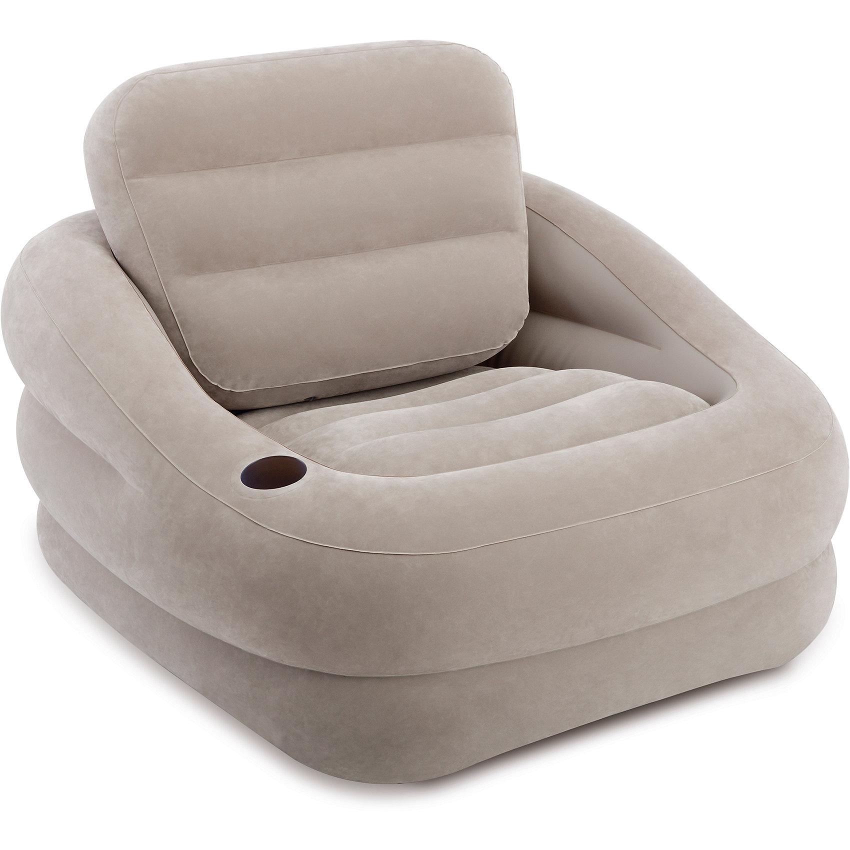 Надувное кресло Акцент 97х107х71см, Intex, серыйМатрасы и лодки<br>Надувное кресло Intex 68587 сможет помочь вам организовать посиделки или просто приятный вечер в кругу семьи. Удобное, скромное по размерам и с приятным велюровым материалом, оно с удовольствием примет вас и ваших гостей. А когда мероприятие закончится, его можно сдуть и уложить в любое удобное место для хранения до следующей вечеринки.<br><br>Ширина мм: 410<br>Глубина мм: 360<br>Высота мм: 135<br>Вес г: 3573<br>Возраст от месяцев: 36<br>Возраст до месяцев: 1188<br>Пол: Унисекс<br>Возраст: Детский<br>SKU: 5630562