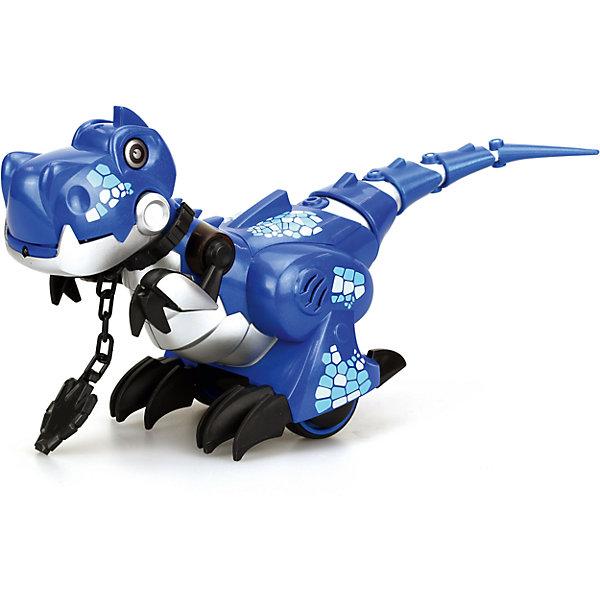 Интерактивная игрушка Silverlit Приручи динозавра (свет, звук), синийРоботы<br>Характеристики товара:<br><br>• возраст: от 5 лет;<br>• материал: пластик, металл;<br>• в комплекте: динозавр, пульт, ошейник, инструкция;<br>• тип батареек: 6 батареек ААА;<br>• наличие батареек: нет в комплекте;<br>• размер игрушки 26,5х10,5х18,5 см;<br>• размер упаковки: 34,2х21,5х15,2 см;<br>• вес упаковки: 760 гр.;<br>• страна производитель: Китай.<br><br>Игрушка «Приручи динозавра» Silverlit синяя — интерактивный робот, выполненный в виде динозавра, который умеет двигаться и выполнять команды. Динозавр работает в 2 режимах «Дикий» и «Домашний». <br><br>В режиме «Дикий» он ведет себя, как настоящий динозавр, двигается и издает звуки, похожие на рычание. В режиме «Домашний» роботом можно управлять и давать ему команды, надев на него специальный ошейник. В этом режиме динозавр будет двигаться вперед, назад, направо и налево.<br><br>Управляется игрушка пультом управления. Робот оснащен световыми и звуковыми эффектами. В зависимости от режима его глаза горят различными цветами. Во время движения срабатывают сенсорные датчики, что позволяет динозавру огибать препятствия. <br><br>Игрушку «Приручи динозавра» Silverlit синюю можно приобрести в нашем интернет-магазине.<br>Ширина мм: 215; Глубина мм: 152; Высота мм: 342; Вес г: 760; Возраст от месяцев: 60; Возраст до месяцев: 2147483647; Пол: Унисекс; Возраст: Детский; SKU: 5631989;