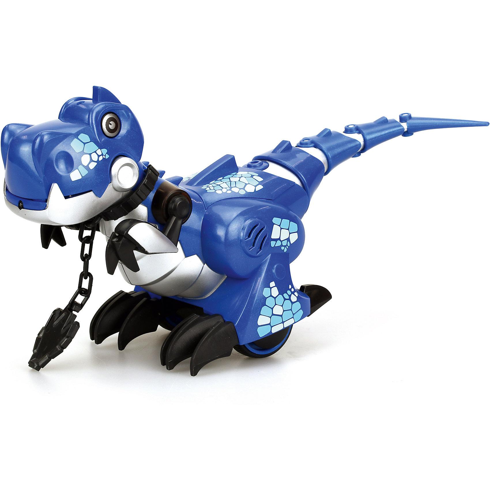 Интерактивная игрушка Silverlit Приручи динозавра (свет, звук), синийРоботы<br>Характеристики товара:<br><br>• возраст: от 5 лет;<br>• материал: пластик, металл;<br>• в комплекте: динозавр, пульт, ошейник, инструкция;<br>• тип батареек: 6 батареек ААА;<br>• наличие батареек: нет в комплекте;<br>• размер игрушки 26,5х10,5х18,5 см;<br>• размер упаковки: 34,2х21,5х15,2 см;<br>• вес упаковки: 760 гр.;<br>• страна производитель: Китай.<br><br>Игрушка «Приручи динозавра» Silverlit синяя — интерактивный робот, выполненный в виде динозавра, который умеет двигаться и выполнять команды. Динозавр работает в 2 режимах «Дикий» и «Домашний». <br><br>В режиме «Дикий» он ведет себя, как настоящий динозавр, двигается и издает звуки, похожие на рычание. В режиме «Домашний» роботом можно управлять и давать ему команды, надев на него специальный ошейник. В этом режиме динозавр будет двигаться вперед, назад, направо и налево.<br><br>Управляется игрушка пультом управления. Робот оснащен световыми и звуковыми эффектами. В зависимости от режима его глаза горят различными цветами. Во время движения срабатывают сенсорные датчики, что позволяет динозавру огибать препятствия. <br><br>Игрушку «Приручи динозавра» Silverlit синюю можно приобрести в нашем интернет-магазине.<br><br>Ширина мм: 215<br>Глубина мм: 152<br>Высота мм: 342<br>Вес г: 760<br>Возраст от месяцев: 60<br>Возраст до месяцев: 2147483647<br>Пол: Унисекс<br>Возраст: Детский<br>SKU: 5631989
