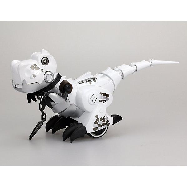 Интерактивная игрушка Silverlit Приручи динозавра (свет, звук), белыйРоботы<br>Характеристики товара:<br><br>• возраст: от 5 лет;<br>• материал: пластик, металл;<br>• в комплекте: динозавр, пульт, ошейник, инструкция;<br>• тип батареек: 6 батареек ААА;<br>• наличие батареек: нет в комплекте;<br>• размер игрушки 26,5х10,5х18,5 см;<br>• размер упаковки: 34,2х21,5х15,2 см;<br>• вес упаковки: 760 гр.;<br>• страна производитель: Китай.<br><br>Игрушка «Приручи динозавра» Silverlit белая — интерактивный робот, выполненный в виде динозавра, который умеет двигаться и выполнять команды. Динозавр работает в 2 режимах «Дикий» и «Домашний». <br><br>В режиме «Дикий» он ведет себя, как настоящий динозавр, двигается и издает звуки, похожие на рычание. В режиме «Домашний» роботом можно управлять и давать ему команды, надев на него специальный ошейник. В этом режиме динозавр будет двигаться вперед, назад, направо и налево.<br><br>Управляется игрушка пультом управления. Робот оснащен световыми и звуковыми эффектами. В зависимости от режима его глаза горят различными цветами. Во время движения срабатывают сенсорные датчики, что позволяет динозавру огибать препятствия. <br><br>Игрушку «Приручи динозавра» Silverlit белую можно приобрести в нашем интернет-магазине.<br>Ширина мм: 215; Глубина мм: 152; Высота мм: 342; Вес г: 760; Возраст от месяцев: 60; Возраст до месяцев: 2147483647; Пол: Унисекс; Возраст: Детский; SKU: 5631990;