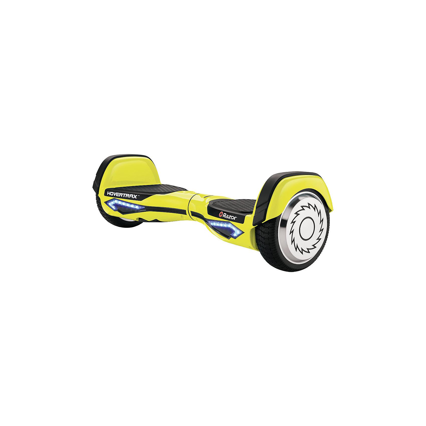 Гироскутер Razor Hovertrax 2.0, желтыйГироскутеры<br>Характеристики товара:<br><br>• возраст: от 8 лет;<br>• максимальная нагрузка: 100 кг;<br>• материал: пластик, металл, резина;<br>• в комплекте: гироскутер, зарядное устройство, инструкция;<br>• тип аккумулятора: Li-Ion 2,5Ач;<br>• мощность каждого мотора 135 Вт;<br>• максимальная скорость: 13 км/час;<br>• время непрерывной работы: 115 минут;<br>• диаметр колес: 6,5 дюймов;<br>• вес гироскутера 12,3 кг;<br>• размер упаковки: 64х23х24 см;<br>• вес упаковки: 15 кг;<br>• страна производитель: Китай.<br><br>Гироскутер Razor Hovertrax желтый — современное средство передвижения по городским улочкам. Движение на нем осуществляется при помощи плавного наклона платформы для ног. Для движения вперед следует немного надавить на платформу носками ступни, для движения назад — пятками.<br><br>Платформы для ног покрыты специальным прорезиненным материалом, исключающим соскальзывание во время движения. Крылья на колесах не дают гироскутеру переворачиваться. Корпус выполнен из прочного полимера, который выдерживает небольшие удары и не трескается.<br><br>Гироскутер Razor Hovertrax оснащен несколькими режимами работы. Функция самовыравнивания позволяет изделию самостоятельно выравниваться при включении. Для новичков, которые еще только учатся кататься на гироскутере, предназначен обучающий режим, который ограничивает скорость и разгон. Для более опытных райдеров подойдет обычный режим, в котором скорость гироскутера может достигать 13 км/час. <br><br>Гироскоп позволяет во время движения постоянно сохранять платформу в горизонтальном положении. Корпус не наклоняется вперед и не падает. У гироскутера Razor Hovertrax нет минимального ограничения по весу, позволяя даже детям учиться на нем кататься. <br><br>Гироскутер оснащен светящимися поворотниками, которые включаются при смещении центра тяжести. Работает изделие от аккумулятора. Кнопка включения и индикатор заряда батареи расположены сверху. <br><br>Гироскутер Razor Hovertrax желты