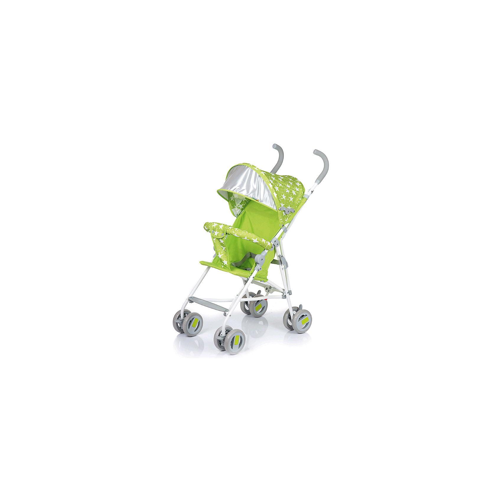 Коляска-трость BabyHit WEENY Звезды, зеленыйКоляски-трости<br>Характеристики коляски:<br><br>• защитный бампер с мягким разделителем;<br>• защитный поясной ремень;<br>• капюшон оснащен широким солнцезащитным козырьком;<br>• малыш может поставить ножки на пластиковую подножку;<br>• сдвоенные колеса на передней и задней оси;<br>• передние «плавающие» колеса с фиксаторами;<br>• ножной тормоз;<br>• высота спинки: 46 см;<br>• диаметр колес: 12,7 см;<br>• тип складывания коляски: трость.<br><br>Обратите внимание: <br>• спинка и подножка коляски не регулируется;<br>• коляска без корзины для покупок.<br><br>Размер коляски: 75х45х93 см<br>Вес коляски: 4,1 кг<br>Размер коляски в сложенном виде: 109х29,5х27,5 см<br>Размер упаковки: 105х41х29 см<br>Вес в упаковке: 4,5 кг<br><br>Легкая и маневренная коляска-трость отлично подходит для путешествий с маленьким ребенком, не занимает много места в багажнике автомобиля, быстро складывается и раскладывается. Ребенок не соскользнет вниз благодаря защитному поручню с паховым ограничителем. Сдвоенные колеса можно зафиксировать, когда коляска едет по песку или гальке. Коляска оснащена тормозами на задних колесах. <br><br>Коляску-трость WEENY, Babyhit можно купить в нашем интернет-магазине.<br><br>Ширина мм: 1050<br>Глубина мм: 290<br>Высота мм: 410<br>Вес г: 4625<br>Возраст от месяцев: 7<br>Возраст до месяцев: 36<br>Пол: Унисекс<br>Возраст: Детский<br>SKU: 6668597