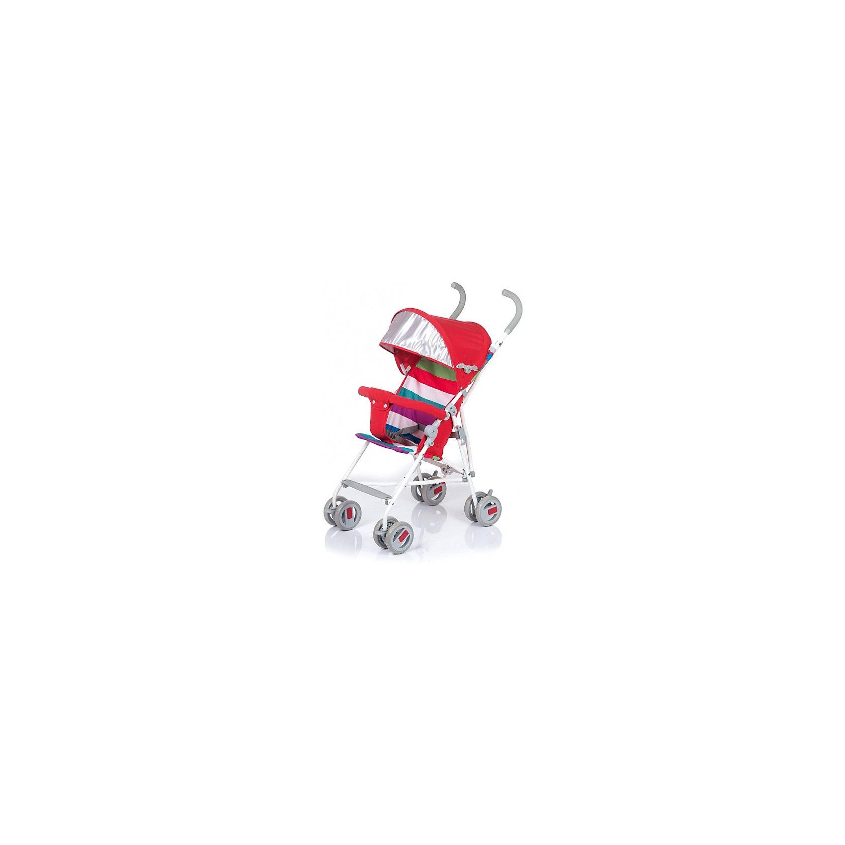 Коляска-трость BabyHit WEENY Полоска, красныйКоляски-трости<br>Характеристики коляски:<br><br>• защитный бампер с мягким разделителем;<br>• защитный поясной ремень;<br>• капюшон оснащен широким солнцезащитным козырьком;<br>• малыш может поставить ножки на пластиковую подножку;<br>• сдвоенные колеса на передней и задней оси;<br>• передние «плавающие» колеса с фиксаторами;<br>• ножной тормоз;<br>• высота спинки: 46 см;<br>• диаметр колес: 12,7 см;<br>• тип складывания коляски: трость.<br><br>Обратите внимание: <br>• спинка и подножка коляски не регулируется;<br>• коляска без корзины для покупок.<br><br>Размер коляски: 75х45х93 см<br>Вес коляски: 4,1 кг<br>Размер коляски в сложенном виде: 109х29,5х27,5 см<br>Размер упаковки: 105х41х29 см<br>Вес в упаковке: 4,5 кг<br><br>Легкая и маневренная коляска-трость отлично подходит для путешествий с маленьким ребенком, не занимает много места в багажнике автомобиля, быстро складывается и раскладывается. Ребенок не соскользнет вниз благодаря защитному поручню с паховым ограничителем. Сдвоенные колеса можно зафиксировать, когда коляска едет по песку или гальке. Коляска оснащена тормозами на задних колесах. <br><br>Коляску-трость WEENY, Babyhit можно купить в нашем интернет-магазине.<br><br>Ширина мм: 1050<br>Глубина мм: 290<br>Высота мм: 410<br>Вес г: 4625<br>Возраст от месяцев: 7<br>Возраст до месяцев: 36<br>Пол: Унисекс<br>Возраст: Детский<br>SKU: 6668599