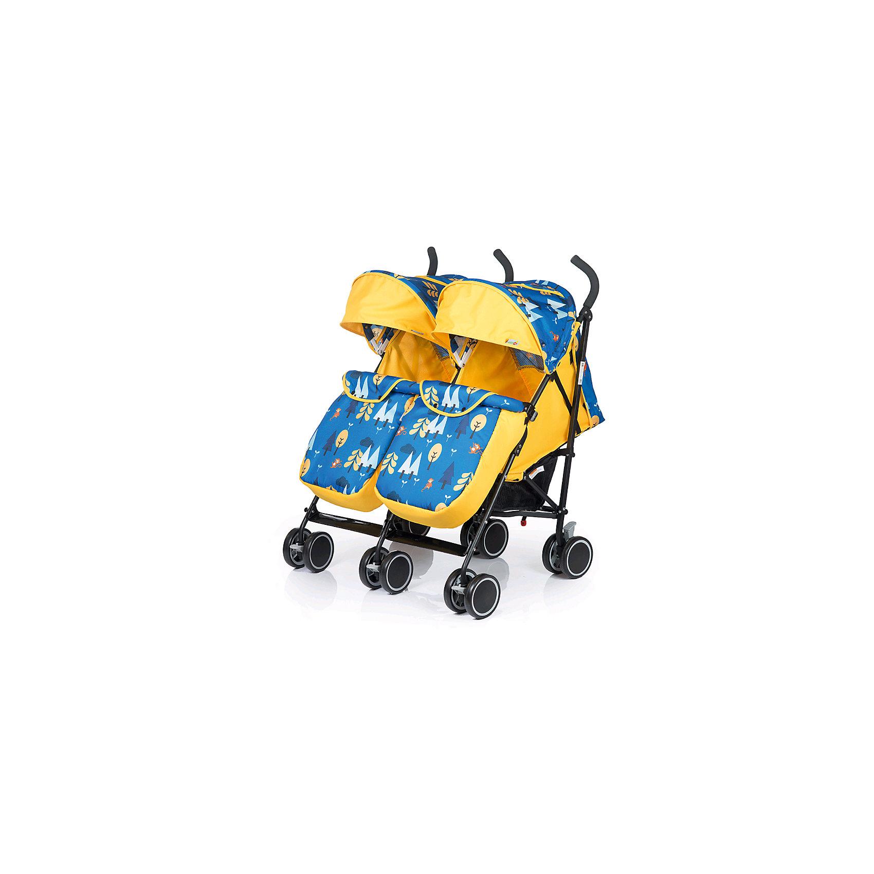 Коляска-трость для двойни BabyHit Twicey, желтый/синийКоляски для двойни<br>Прогулочная коляска-трость для двойни Babyhit Twicey<br>Сдвоенные передние поворотные колеса с фиксацией в положении «прямо»<br>Капюшон «батискаф»<br>Съемный поручень с паховыми ремнями<br>Система амортизации на всех колесах<br>Регулируемые до положения «лежа» спинки<br>Регулируемые подножки<br>5-ти точечная система ремней безопасности<br>Багажная корзина<br>Смотровое окно в капюшоне<br>В комплекте: полог, москитная сетка<br><br>Характеристика:<br>Размеры в разложенном виде: 77х80х100 см (ДхШхВ)<br>Размеры в сложенном виде: 97х55х36 см (ДхШхВ)<br>Размер спального места: 69х32 см (ДхШ)<br>Ширина сиденья: 32 см<br>Длина сиденья:  19 см<br>Высота спинки:  42 см<br>Высота до ручки: 100 см<br>Диаметр колес: 13,5 см<br><br>Цвет коляски соответствует первому фото. На дополнительных фото представлена эта же модель в другой расцветке.<br><br>Коляску-трость для двойни BabyHit Twicey, желтый/синийможно купить в нашем интернет-магазине.<br><br>Ширина мм: 940<br>Глубина мм: 225<br>Высота мм: 400<br>Вес г: 11300<br>Возраст от месяцев: 7<br>Возраст до месяцев: 36<br>Пол: Унисекс<br>Возраст: Детский<br>SKU: 6668601