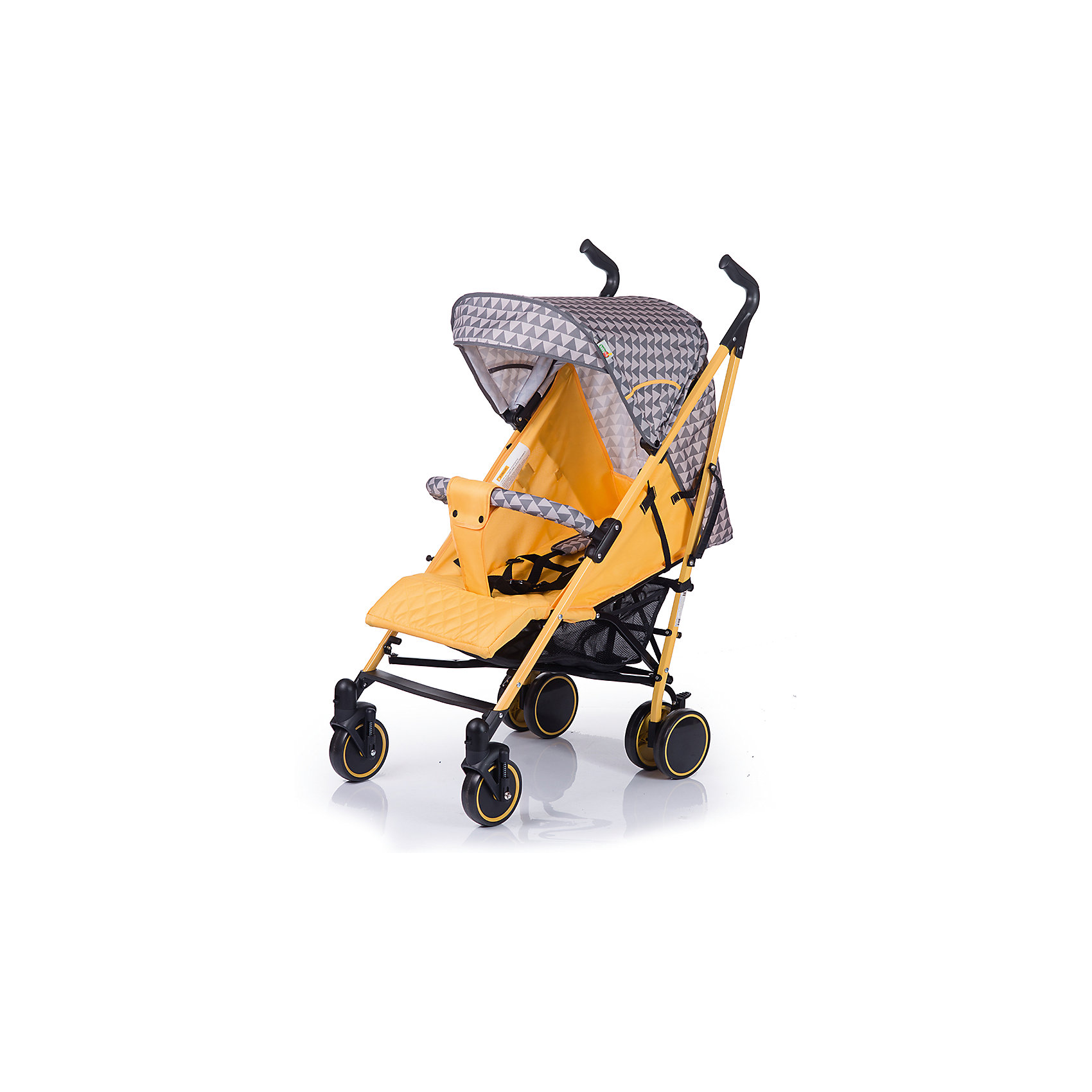 Коляска-трость BabyHit Handy, серый/жёлтыйКоляски-трости более 7 кг.<br>Характеристики коляски:<br><br>Рама коляски:<br><br>• наклон спинки коляски регулируется до горизонтального положения;<br>• подножка регулируется;<br>• система 5-ти точечных ремней безопасности;<br>• глубокий капюшон «батискаф»;<br>• капюшон оснащен смотровым окошком;<br>• съемный поручень с паховым ремнем;<br>• чехол на ножки согревает ребенка в холодное время года;<br>• москитная сетка защищает кроху от насекомых;<br>• длина спального места: 75 см;<br>• ширина сиденья: 35 см;<br>• глубина сиденья: 21 см;<br>• высота спинки:  47 см.<br><br>Рама коляски:<br><br>• одинарные передние поворотные колеса с фиксацией в положении «прямо»;<br>• ручки коляски регулируются по высоте;<br>• система амортизации на всех колесах;<br>• корзина для покупок;<br>• тип складывания: трость;<br>• высота до ручки: 87-107 см;<br>• диаметр передних колес: 14 см;<br>• диаметр задних колес: 15 см.<br><br>Размеры коляски в разложенном виде: 83х50х107 см<br>Размеры коляски в сложенном виде: 107х33х33 см<br>Вес коляски: 8 кг<br><br>Коляску-трость Babyhit Handy можно купить в нашем интернет-магазине.<br><br>Ширина мм: 300<br>Глубина мм: 230<br>Высота мм: 1000<br>Вес г: 9850<br>Возраст от месяцев: 6<br>Возраст до месяцев: 36<br>Пол: Унисекс<br>Возраст: Детский<br>SKU: 6668608