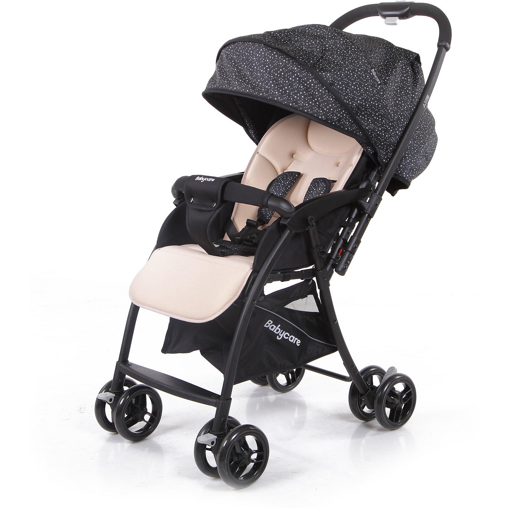 Прогулочная коляска Baby Care Sky, бежевыйПрогулочные коляски для лета<br>Baby Care Sky  - новая прогулочная коляска с перекидной ручкой, легкая и маневренная. <br>Коляска легко и удобно складывается, благодаря чему занимает очень мало места.<br>Съемный бампер с мягкой обивкой, отстегивающийся с одной стороны. <br>Спинка  регулируется плавно с помощью ремней. <br>В комплекте есть чехол на ножки и корзинка для покупок. Коляска имеет 5-ти точечные ремни безопасности. <br>Может стоять в сложенном состоянии и складывается одной рукой.<br>Особенности:<br>• алюминиевая рама<br>• плавающие передние колеса с ручной фиксацией<br>• 5-ти точеный ремень безопасности<br>• бампер с мягкой обивкой отстёгивается с одной стороны<br>• спинка регулируется при помощи ремня<br>• регулируемая подножка<br>• ножная тормозная система<br>• амортизация передних колёс<br>• окошки в капюшоне <br>• перекидная родительская ручка<br>• коляска может стоять в сложенном состоянии<br>• коляску можно сложить одной рукой<br>Характеристики:<br>• диаметр колес: передние – 13.4 см, задние — 13.4 см<br>• тип колес: двойные<br>• механизм складывания: книжка<br>• вес: 4.7 кг <br>• ширина сиденья: 34 см<br>• размер корзины: 31х31х18 см<br>• размер в разложенном виде: 83х47х98 см<br>• размер в сложенном виде: 30х47х93 см<br><br>Ширина мм: 730<br>Глубина мм: 460<br>Высота мм: 210<br>Вес г: 6200<br>Возраст от месяцев: 6<br>Возраст до месяцев: 36<br>Пол: Унисекс<br>Возраст: Детский<br>SKU: 6668622