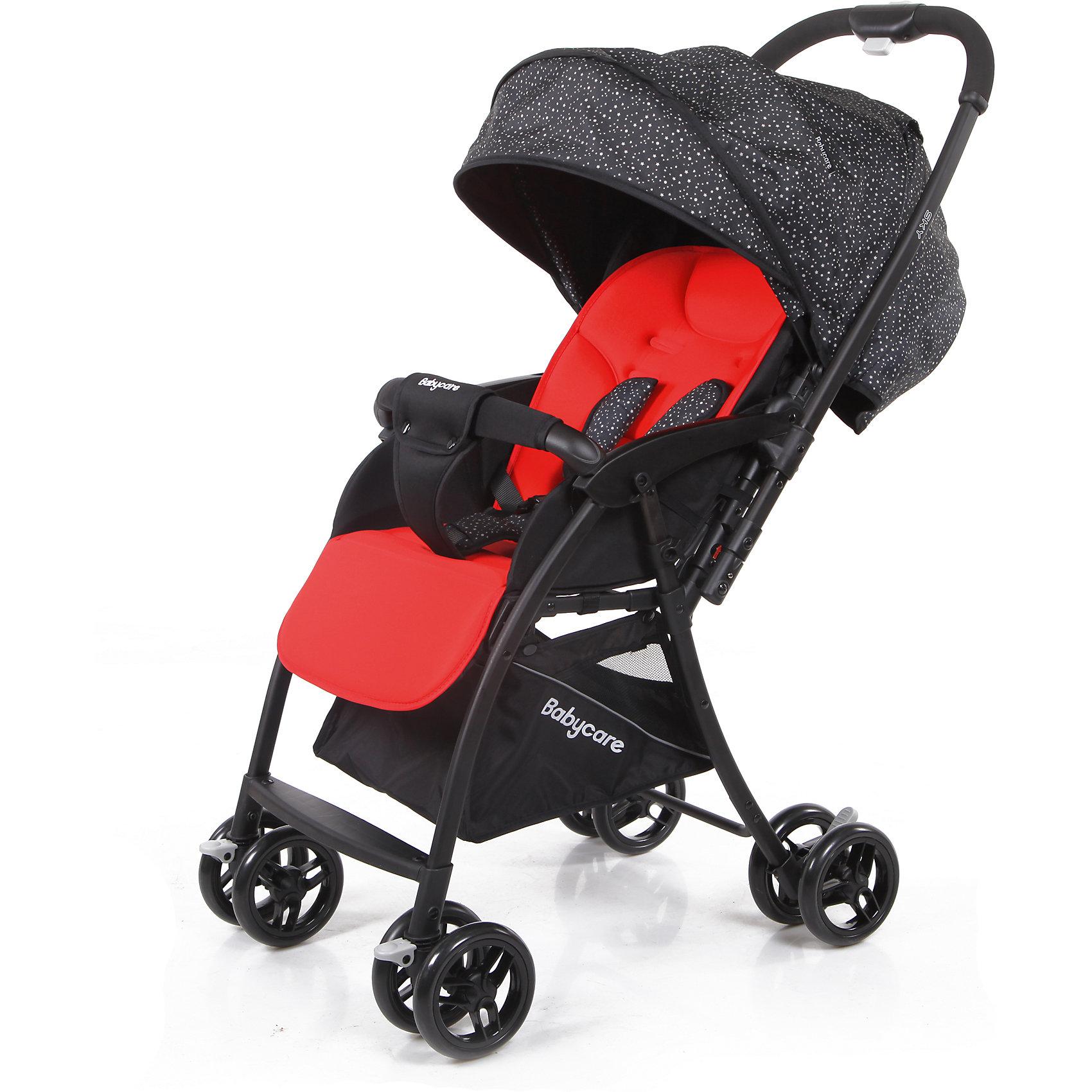 Прогулочная коляска Baby Care Sky, красныйПрогулочные коляски<br>Baby Care Sky  - новая прогулочная коляска с перекидной ручкой, легкая и маневренная. <br>Коляска легко и удобно складывается, благодаря чему занимает очень мало места.<br>Съемный бампер с мягкой обивкой, отстегивающийся с одной стороны. <br>Спинка  регулируется плавно с помощью ремней. <br>В комплекте есть чехол на ножки и корзинка для покупок. Коляска имеет 5-ти точечные ремни безопасности. <br>Может стоять в сложенном состоянии и складывается одной рукой.<br>Особенности:<br>• алюминиевая рама<br>• плавающие передние колеса с ручной фиксацией<br>• 5-ти точеный ремень безопасности<br>• бампер с мягкой обивкой отстёгивается с одной стороны<br>• спинка регулируется при помощи ремня<br>• регулируемая подножка<br>• ножная тормозная система<br>• амортизация передних колёс<br>• окошки в капюшоне <br>• перекидная родительская ручка<br>• коляска может стоять в сложенном состоянии<br>• коляску можно сложить одной рукой<br>Характеристики:<br>• диаметр колес: передние – 13.4 см, задние — 13.4 см<br>• тип колес: двойные<br>• механизм складывания: книжка<br>• вес: 4.7 кг <br>• ширина сиденья: 34 см<br>• размер корзины: 31х31х18 см<br>• размер в разложенном виде: 83х47х98 см<br>• размер в сложенном виде: 30х47х93 см<br><br>Ширина мм: 730<br>Глубина мм: 460<br>Высота мм: 210<br>Вес г: 6200<br>Возраст от месяцев: 6<br>Возраст до месяцев: 36<br>Пол: Унисекс<br>Возраст: Детский<br>SKU: 6668623