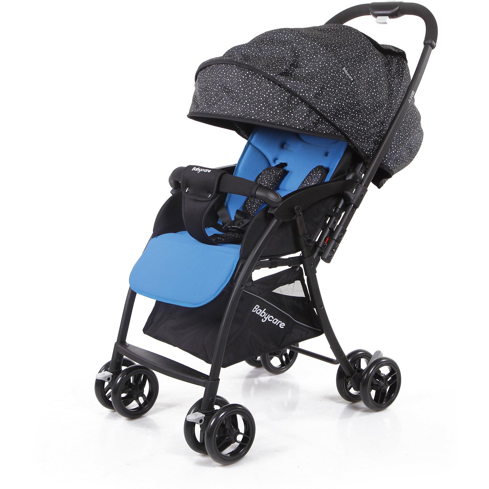 Прогулочная коляска Baby Care Sky, светло-синийПрогулочные коляски<br>Baby Care Sky  - новая прогулочная коляска с перекидной ручкой, легкая и маневренная. <br>Коляска легко и удобно складывается, благодаря чему занимает очень мало места.<br>Съемный бампер с мягкой обивкой, отстегивающийся с одной стороны. <br>Спинка  регулируется плавно с помощью ремней. <br>В комплекте есть чехол на ножки и корзинка для покупок. Коляска имеет 5-ти точечные ремни безопасности. <br>Может стоять в сложенном состоянии и складывается одной рукой.<br>Особенности:<br>• алюминиевая рама<br>• плавающие передние колеса с ручной фиксацией<br>• 5-ти точеный ремень безопасности<br>• бампер с мягкой обивкой отстёгивается с одной стороны<br>• спинка регулируется при помощи ремня<br>• регулируемая подножка<br>• ножная тормозная система<br>• амортизация передних колёс<br>• окошки в капюшоне <br>• перекидная родительская ручка<br>• коляска может стоять в сложенном состоянии<br>• коляску можно сложить одной рукой<br>Характеристики:<br>• диаметр колес: передние – 13.4 см, задние — 13.4 см<br>• тип колес: двойные<br>• механизм складывания: книжка<br>• вес: 4.7 кг <br>• ширина сиденья: 34 см<br>• размер корзины: 31х31х18 см<br>• размер в разложенном виде: 83х47х98 см<br>• размер в сложенном виде: 30х47х93 см<br><br>Ширина мм: 730<br>Глубина мм: 460<br>Высота мм: 210<br>Вес г: 6200<br>Возраст от месяцев: 6<br>Возраст до месяцев: 36<br>Пол: Унисекс<br>Возраст: Детский<br>SKU: 6668624