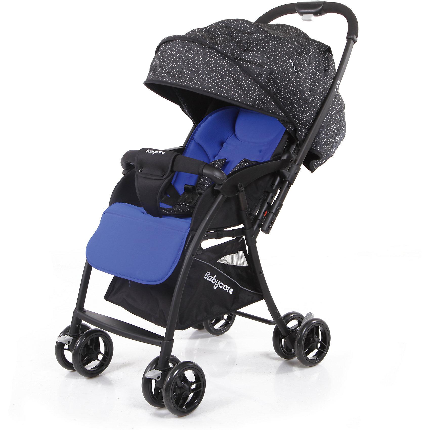 Прогулочная коляска Baby Care Sky, синийПрогулочные коляски для лета<br>Baby Care Sky  - новая прогулочная коляска с перекидной ручкой, легкая и маневренная. <br>Коляска легко и удобно складывается, благодаря чему занимает очень мало места.<br>Съемный бампер с мягкой обивкой, отстегивающийся с одной стороны. <br>Спинка  регулируется плавно с помощью ремней. <br>В комплекте есть чехол на ножки и корзинка для покупок. Коляска имеет 5-ти точечные ремни безопасности. <br>Может стоять в сложенном состоянии и складывается одной рукой.<br>Особенности:<br>• алюминиевая рама<br>• плавающие передние колеса с ручной фиксацией<br>• 5-ти точеный ремень безопасности<br>• бампер с мягкой обивкой отстёгивается с одной стороны<br>• спинка регулируется при помощи ремня<br>• регулируемая подножка<br>• ножная тормозная система<br>• амортизация передних колёс<br>• окошки в капюшоне <br>• перекидная родительская ручка<br>• коляска может стоять в сложенном состоянии<br>• коляску можно сложить одной рукой<br>Характеристики:<br>• диаметр колес: передние – 13.4 см, задние — 13.4 см<br>• тип колес: двойные<br>• механизм складывания: книжка<br>• вес: 4.7 кг <br>• ширина сиденья: 34 см<br>• размер корзины: 31х31х18 см<br>• размер в разложенном виде: 83х47х98 см<br>• размер в сложенном виде: 30х47х93 см<br><br>Ширина мм: 730<br>Глубина мм: 460<br>Высота мм: 210<br>Вес г: 6200<br>Возраст от месяцев: 6<br>Возраст до месяцев: 36<br>Пол: Унисекс<br>Возраст: Детский<br>SKU: 6668625